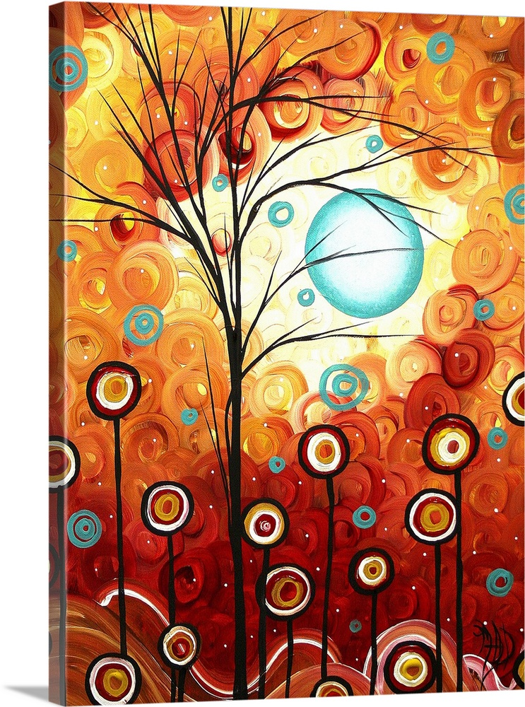 Large Solid-Faced Canvas Print Wall Art Print 18 x 24 entitled Surrounded by Love Solid-Faced Canvas Print entitled Surrounded by Love.  A big abstract painting of trees and flowers represented as circles on lines in front of a sky made up of layered circles.  Multiple sizes available.  Primary colors within this image include Dark Red, Peach, Black, White.  Made in the USA.  All products come with a 365 day workmanship guarantee.  Inks used are latex-based and designed to last.  Canvas depth is 1.25 and includes a finished backing with pre-installed hanging hardware.  Canvas is handcrafted and made-to-order in the United States using high quality artist-grade canvas.