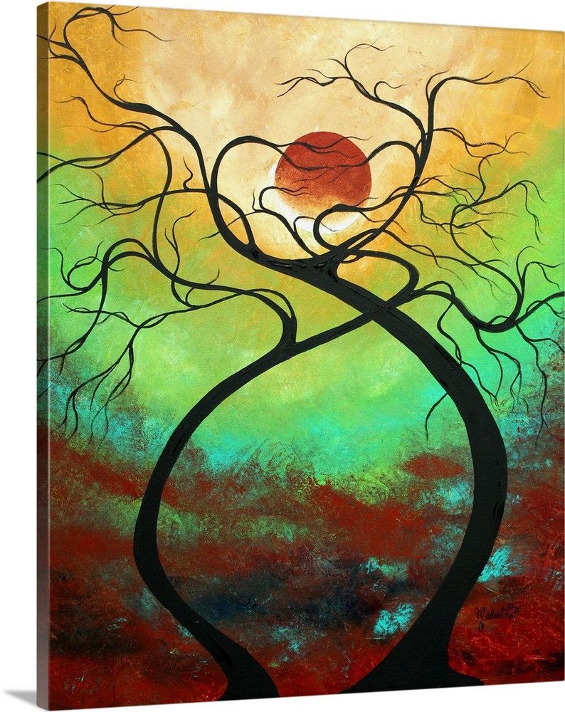 Large Solid-Faced Canvas Print Wall Art Print 20 x 24 entitled Twisting Love Solid-Faced Canvas Print entitled Twisting Love.  Contemporay abstract painting of curving tree trunks and branches against a bright sky.  Multiple sizes available.  Primary colors within this image include Dark Red, Forest Green, Peach, Light Yellow.  Made in USA.  All products come with a 365 day workmanship guarantee.  Archival-quality UV-resistant inks.  Canvas is handcrafted and made-to-order in the United States using high quality artist-grade canvas.  Canvas depth is 1.25 and includes a finished backing with pre-installed hanging hardware.