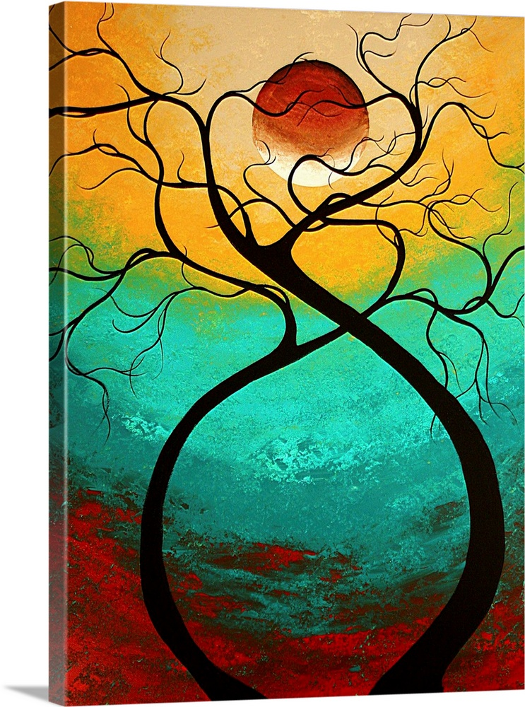 Large Solid-Faced Canvas Print Wall Art Print 30 x 40 entitled Twisting Love - Abstract Contemporary Art Solid-Faced Canvas Print entitled Twisting Love - Abstract Contemporary Art.  Vertical, large contemporary artwork of two trees curving apart at the base but intertwining at the top in front of a large moon.  On a background of transitional colors.  Multiple sizes available.  Primary colors within this image include Dark Red, Peach, Black, Teal.  Made in the USA.  Satisfaction guaranteed.  Archival-quality UV-resistant inks.  Canvas depth is 1.25 and includes a finished backing with pre-installed hanging hardware.  Archival inks prevent fading and preserve as much fine detail as possible with no over-saturation or color shifting.