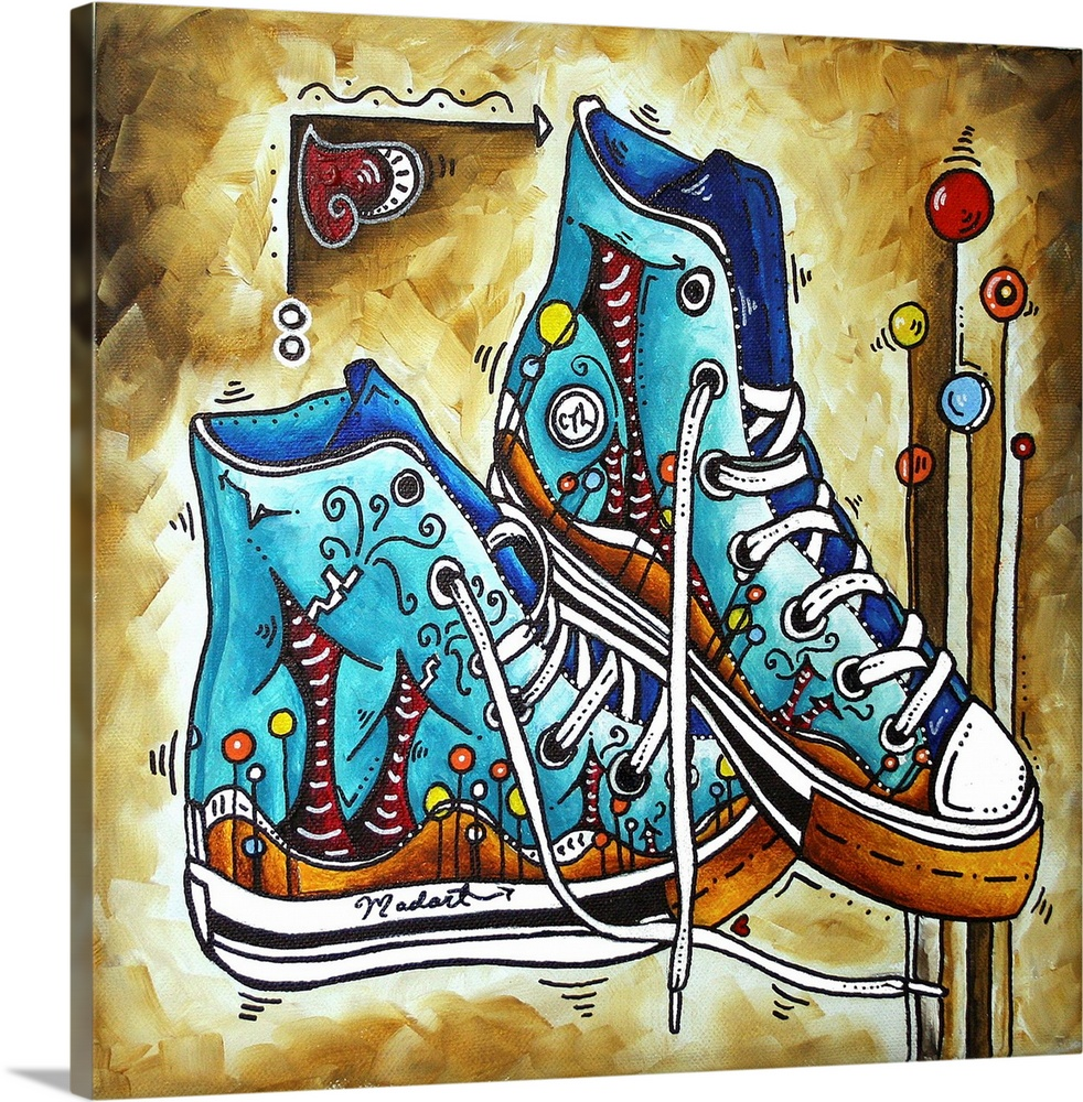 Large Solid-Faced Canvas Print Wall Art Print 20 x 20 entitled Whimsical Shoes Solid-Faced Canvas Print entitled Whimsical Shoes.  Multiple sizes available.  Primary colors within this image include Orange, Dark Red, Dark Gray, White.  Made in USA.  All products come with a 365 day workmanship guarantee.  Inks used are latex-based and designed to last.  Canvas depth is 1.25 and includes a finished backing with pre-installed hanging hardware.  Canvas is handcrafted and made-to-order in the United States using high quality artist-grade canvas.
