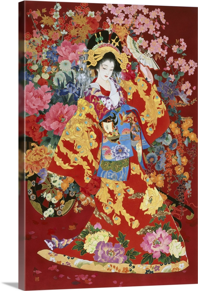 Large Solid-Faced Canvas Print Wall Art Print 20 x 30 entitled Agemaki Solid-Faced Canvas Print entitled Agemaki.  Contemporary colorful Asian art of a Geisha in beautiful ornate clothing.  Multiple sizes available.  Primary colors within this image include Dark Red, Brown, Peach, Royal Blue.  Made in the USA.  Satisfaction guaranteed.  Inks used are latex-based and designed to last.  Archival inks prevent fading and preserve as much fine detail as possible with no over-saturation or color shifting.  Canvas is handcrafted and made-to-order in the United States using high quality artist-grade canvas.