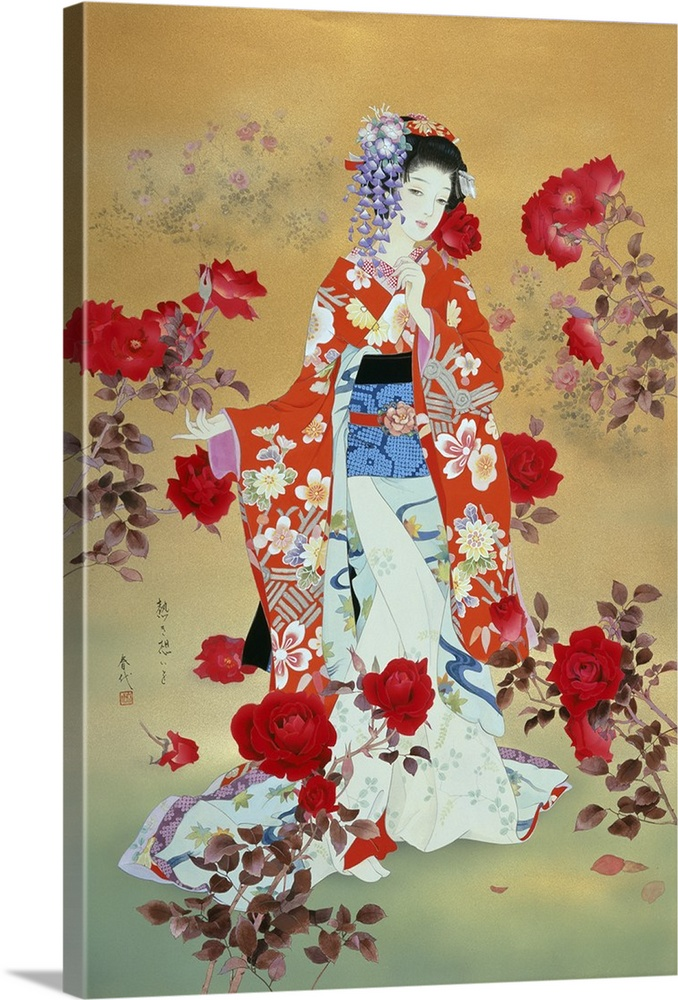 Large Solid-Faced Canvas Print Wall Art Print 20 x 30 entitled Bara Solid-Faced Canvas Print entitled Bara.  Contemporary colorful Asian art of a Geisha in beautiful ornate clothing.  Multiple sizes available.  Primary colors within this image include Dark Red, Peach, Silver, Muted Blue.  Made in the USA.  Satisfaction guaranteed.  Archival-quality UV-resistant inks.  Canvas depth is 1.25 and includes a finished backing with pre-installed hanging hardware.  Featuring a proprietary design, our canvases produce the tightest corners without any bubbles, ripples, or bumps and will not warp or sag over time.
