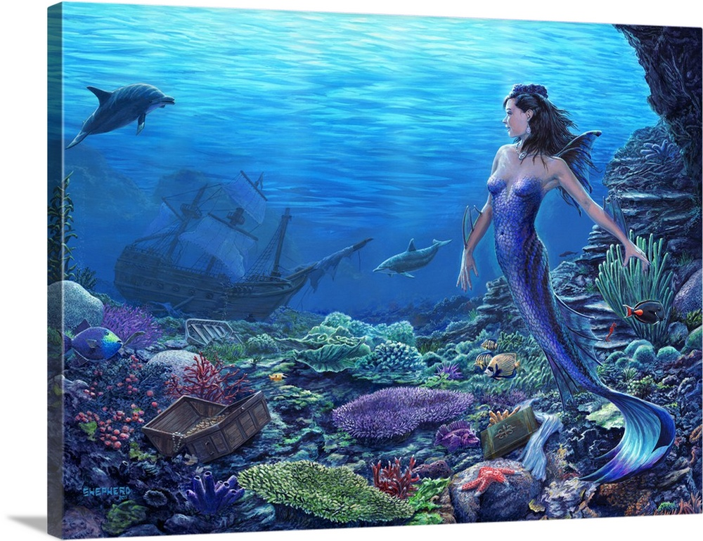 Large Solid-Faced Canvas Print Wall Art Print 40 x 30 entitled Discovery Under the Sea Solid-Faced Canvas Print entitled Discovery Under the Sea.  A shiny blue mermaid encounters a treasure chest and sunken ship amidst ocean flora and fauna. Her dolphin friends have led a mermaid princess to the remains of contact with the upper world. What new discoveries will she make. What new dreams or adventures will they inspire.  Multiple sizes available.  Primary colors within this image include Dark Blue, Dark Gray, Royal Blue, Teal.  Made in the USA.  All products come with a 365 day workmanship guarantee.  Inks used are latex-based and designed to last.  Archival inks prevent fading and preserve as much fine detail as possible with no over-saturation or color shifting.  Canvas is handcrafted and made-to-order in the United States using high quality artist-grade canvas.