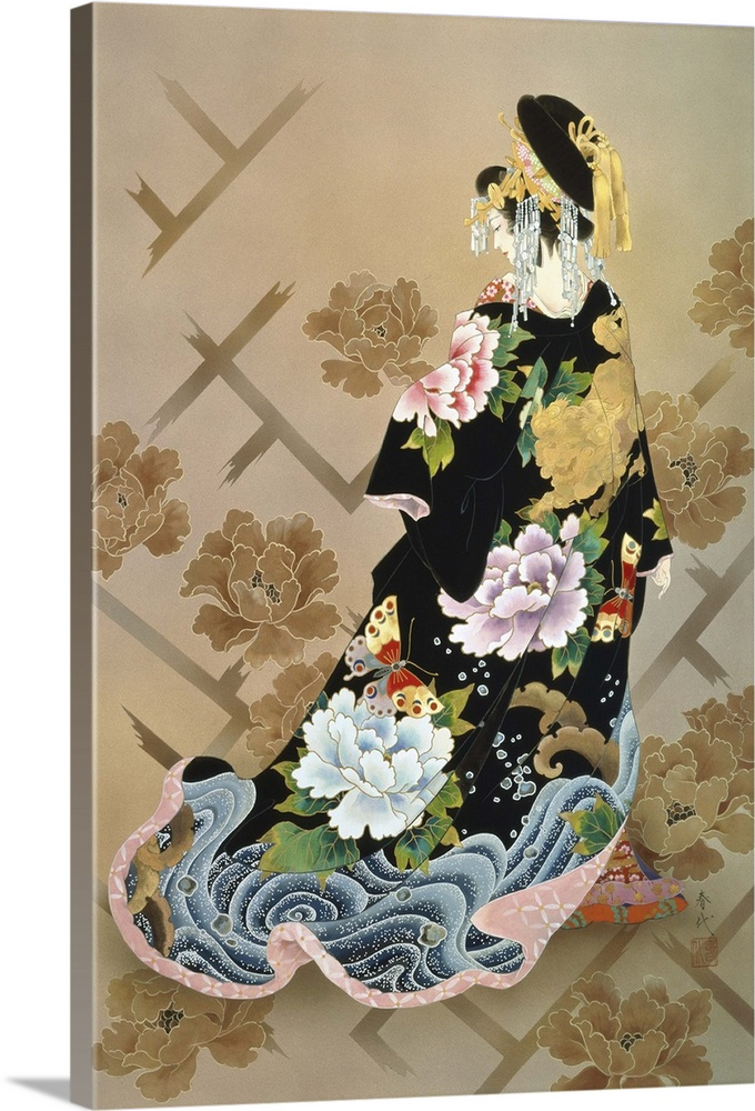 Large Solid-Faced Canvas Print Wall Art Print 20 x 30 entitled Echigo Dojouji Solid-Faced Canvas Print entitled Echigo Dojouji.  Contemporary colorful Asian art of a Geisha in beautiful ornate clothing.  Multiple sizes available.  Primary colors within this image include Dark Red, Dark Gray, Light Gray.  Made in USA.  Satisfaction guaranteed.  Inks used are latex-based and designed to last.  Canvas is handcrafted and made-to-order in the United States using high quality artist-grade canvas.  Archival inks prevent fading and preserve as much fine detail as possible with no over-saturation or color shifting.