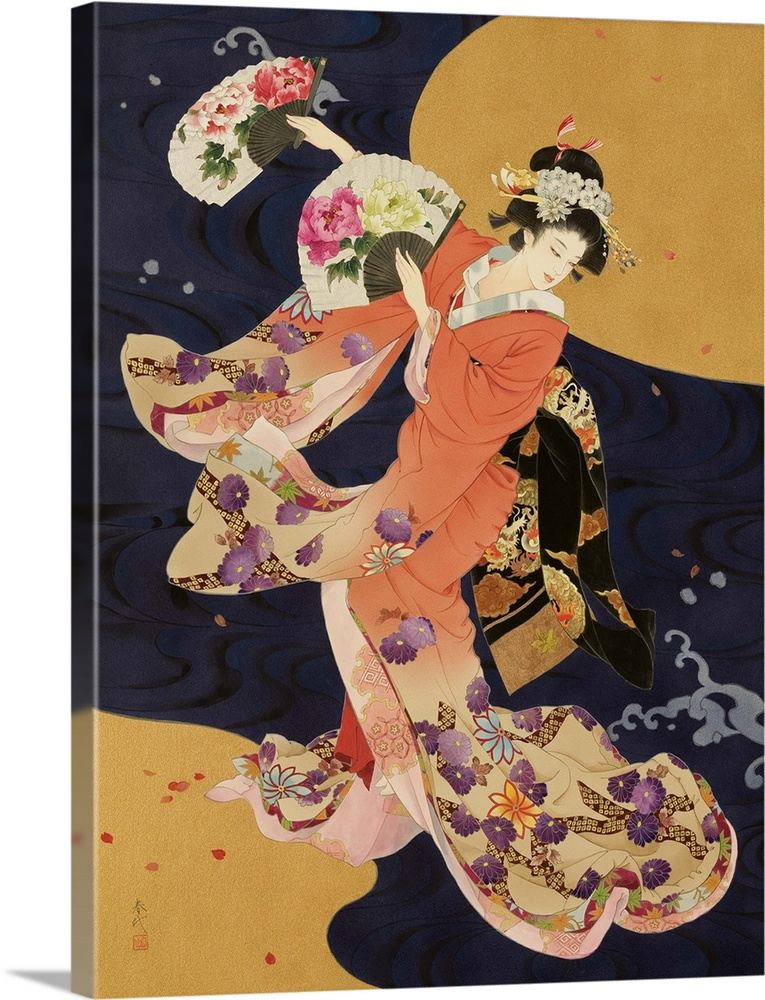 Large Solid-Faced Canvas Print Wall Art Print 30 x 40 entitled Futatsu Ogi Solid-Faced Canvas Print entitled Futatsu Ogi.  Contemporary colorful Asian art of a Geisha in beautiful ornate clothing.  Multiple sizes available.  Primary colors within this image include Brown, Pink, Peach, Dark Navy Blue.  Made in the USA.  All products come with a 365 day workmanship guarantee.  Inks used are latex-based and designed to last.  Archival inks prevent fading and preserve as much fine detail as possible with no over-saturation or color shifting.  Featuring a proprietary design, our canvases produce the tightest corners without any bubbles, ripples, or bumps and will not warp or sag over time.