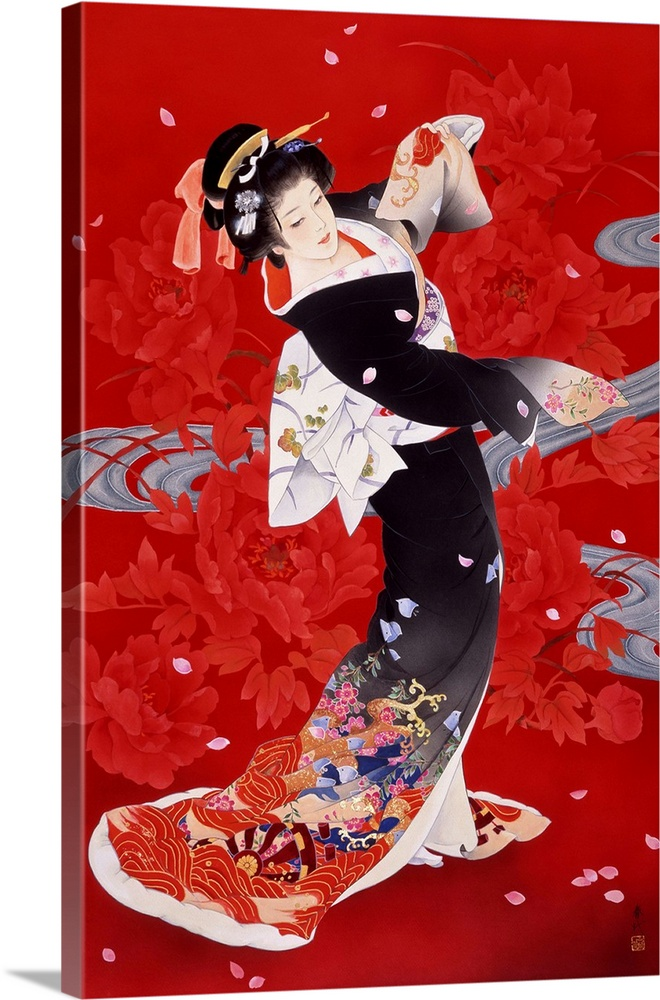 Large Solid-Faced Canvas Print Wall Art Print 20 x 30 entitled Hien Solid-Faced Canvas Print entitled Hien.  Contemporary colorful Asian art of a Geisha in beautiful ornate clothing.  Multiple sizes available.  Primary colors within this image include Dark Red, Pink, Peach, Black.  Made in the USA.  All products come with a 365 day workmanship guarantee.  Inks used are latex-based and designed to last.  Canvas depth is 1.25 and includes a finished backing with pre-installed hanging hardware.  Archival inks prevent fading and preserve as much fine detail as possible with no over-saturation or color shifting.