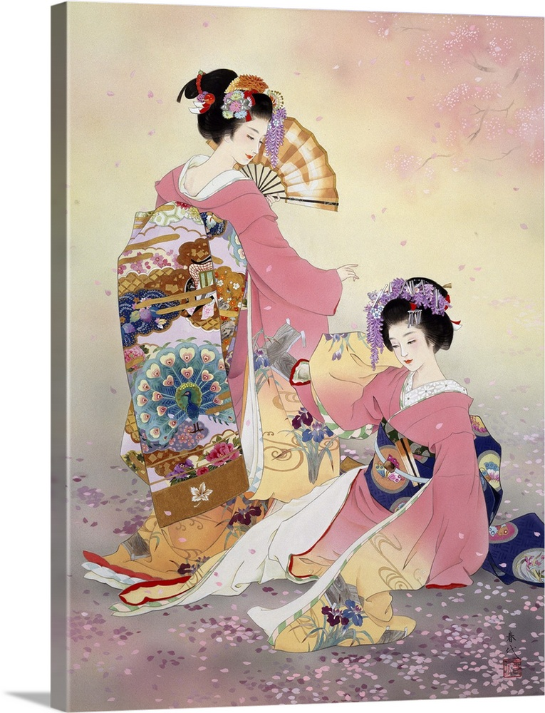 Large Solid-Faced Canvas Print Wall Art Print 30 x 40 entitled Hutari Mai Solid-Faced Canvas Print entitled Hutari Mai.  Contemporary colorful Asian art of a Geisha in beautiful ornate clothing.  Multiple sizes available.  Primary colors within this image include Dark Red, Pink, Black, White.  Made in the USA.  Satisfaction guaranteed.  Inks used are latex-based and designed to last.  Canvas is handcrafted and made-to-order in the United States using high quality artist-grade canvas.  Featuring a proprietary design, our canvases produce the tightest corners without any bubbles, ripples, or bumps and will not warp or sag over time.