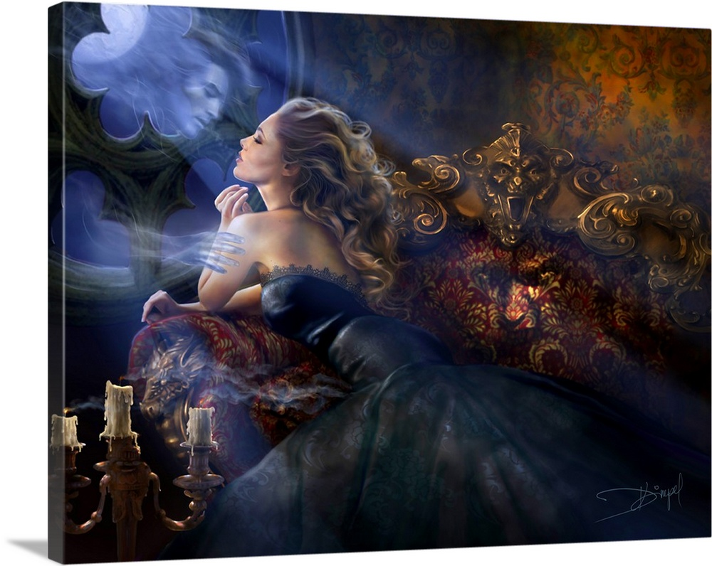 Large Solid-Faced Canvas Print Wall Art Print 40 x 30 entitled Impetuous arrival Solid-Faced Canvas Print entitled Impetuous arrival.  Moonlit scene with blown candles. Blond woman on a sofa, wearing black dress, touching a ghost floating through the gothic style window.  Multiple sizes available.  Primary colors within this image include Brown, Black, Pale Blue, Royal Blue.  Made in the USA.  All products come with a 365 day workmanship guarantee.  Inks used are latex-based and designed to last.  Canvas depth is 1.25 and includes a finished backing with pre-installed hanging hardware.  Archival inks prevent fading and preserve as much fine detail as possible with no over-saturation or color shifting.