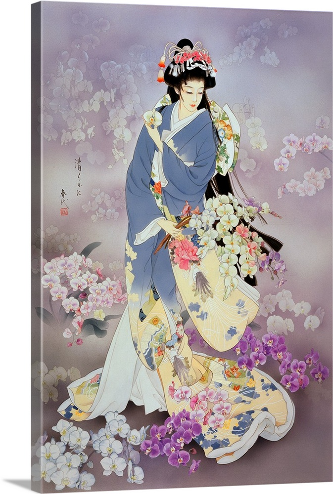 Large Solid-Faced Canvas Print Wall Art Print 20 x 30 entitled Kochouran Solid-Faced Canvas Print entitled Kochouran.  Contemporary colorful Asian art of a Geisha in beautiful ornate clothing.  Multiple sizes available.  Primary colors within this image include Dark Purple, Peach, Black, Light Gray.  Made in USA.  Satisfaction guaranteed.  Inks used are latex-based and designed to last.  Canvas is handcrafted and made-to-order in the United States using high quality artist-grade canvas.  Archival inks prevent fading and preserve as much fine detail as possible with no over-saturation or color shifting.