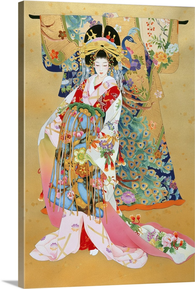 Large Solid-Faced Canvas Print Wall Art Print 20 x 30 entitled Kogane Solid-Faced Canvas Print entitled Kogane.  Contemporary colorful Asian art of a Geisha in beautiful ornate clothing.  Multiple sizes available.  Primary colors within this image include Orange, Peach, Silver, Dark Forest Green.  Made in USA.  Satisfaction guaranteed.  Inks used are latex-based and designed to last.  Featuring a proprietary design, our canvases produce the tightest corners without any bubbles, ripples, or bumps and will not warp or sag over time.  Archival inks prevent fading and preserve as much fine detail as possible with no over-saturation or color shifting.
