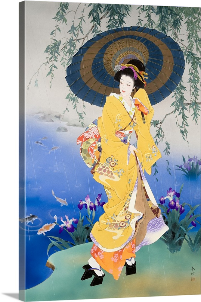 Large Solid-Faced Canvas Print Wall Art Print 20 x 30 entitled Koi Solid-Faced Canvas Print entitled Koi.  Contemporary colorful Asian art of a Geisha in beautiful ornate clothing.  Multiple sizes available.  Primary colors within this image include Peach, Gray, Silver, Muted Blue.  Made in the USA.  All products come with a 365 day workmanship guarantee.  Inks used are latex-based and designed to last.  Canvas depth is 1.25 and includes a finished backing with pre-installed hanging hardware.  Featuring a proprietary design, our canvases produce the tightest corners without any bubbles, ripples, or bumps and will not warp or sag over time.