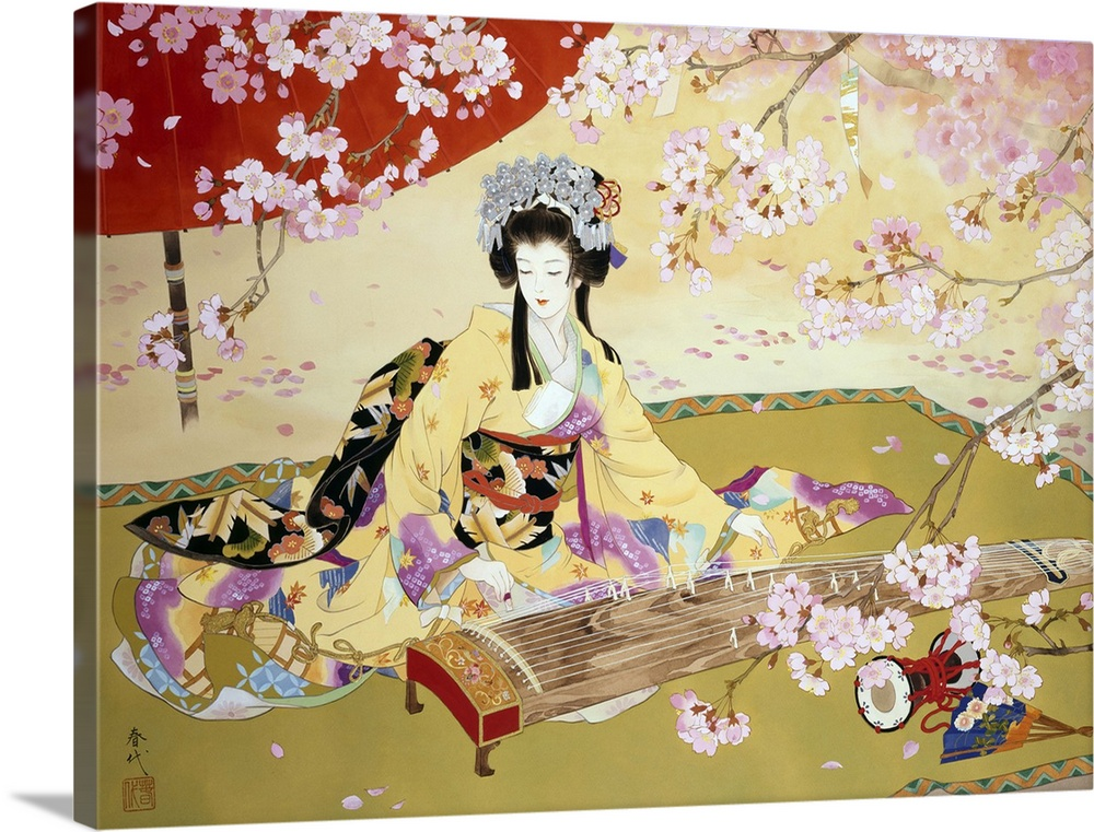 Large Solid-Faced Canvas Print Wall Art Print 40 x 30 entitled Kotono Solid-Faced Canvas Print entitled Kotono.  Contemporary colorful Asian art of a Geisha in beautiful ornate clothing.  Multiple sizes available.  Primary colors within this image include Dark Red, Peach, Light Gray, White.  Made in USA.  All products come with a 365 day workmanship guarantee.  Inks used are latex-based and designed to last.  Canvas depth is 1.25 and includes a finished backing with pre-installed hanging hardware.  Archival inks prevent fading and preserve as much fine detail as possible with no over-saturation or color shifting.