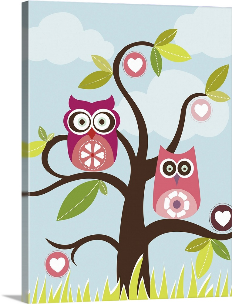 Large Solid-Faced Canvas Print Wall Art Print 30 x 40 entitled Love Birds In Tree Solid-Faced Canvas Print entitled Love Birds In Tree.  Multiple sizes available.  Primary colors within this image include Dark Yellow, Pink, Dark Gray, White.  Made in the USA.  All products come with a 365 day workmanship guarantee.  Inks used are latex-based and designed to last.  Featuring a proprietary design, our canvases produce the tightest corners without any bubbles, ripples, or bumps and will not warp or sag over time.  Archival inks prevent fading and preserve as much fine detail as possible with no over-saturation or color shifting.