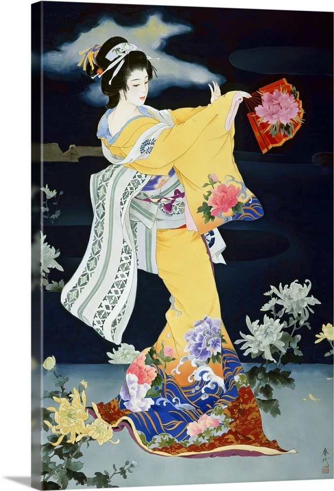 Large Solid-Faced Canvas Print Wall Art Print 20 x 30 entitled Matsuri Solid-Faced Canvas Print entitled Matsuri.  Contemporary colorful Asian art of a Geisha in beautiful ornate clothing.  Multiple sizes available.  Primary colors within this image include Dark Red, Light Yellow, Black, Pale Blue.  Made in USA.  Satisfaction guaranteed.  Archival-quality UV-resistant inks.  Canvas depth is 1.25 and includes a finished backing with pre-installed hanging hardware.  Featuring a proprietary design, our canvases produce the tightest corners without any bubbles, ripples, or bumps and will not warp or sag over time.