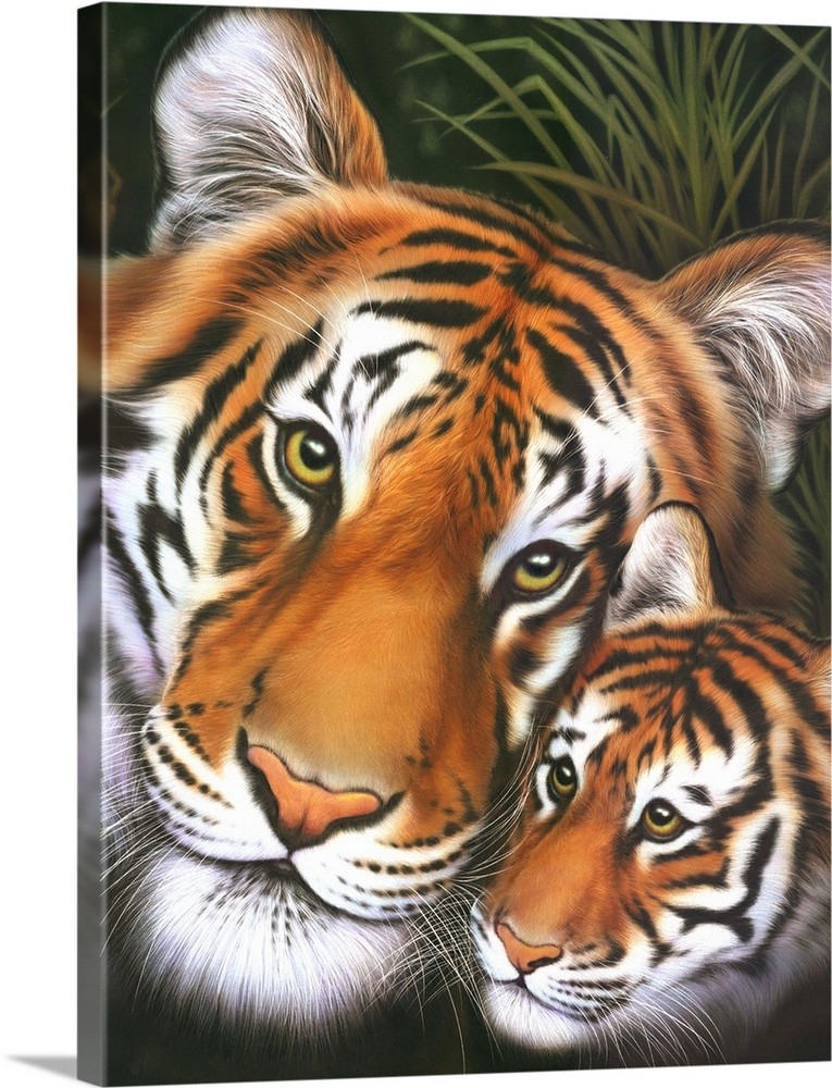 Large Gallery-Wrapped Canvas Wall Art Print 17 x 24 entitled Mother Tiger - Cub Gallery-Wrapped Canvas entitled Mother Tiger - Cub.  Multiple sizes available.  Primary colors within this image include Peach Black White Dark Forest Green.  Made in the USA.  Satisfaction guaranteed.  Archival-quality UV-resistant inks.  Canvases have a UVB protection built in to protect against fading and moisture and are designed to last for over 100 years.  Canvas frames are built with farmed or reclaimed domestic pine or poplar wood.
