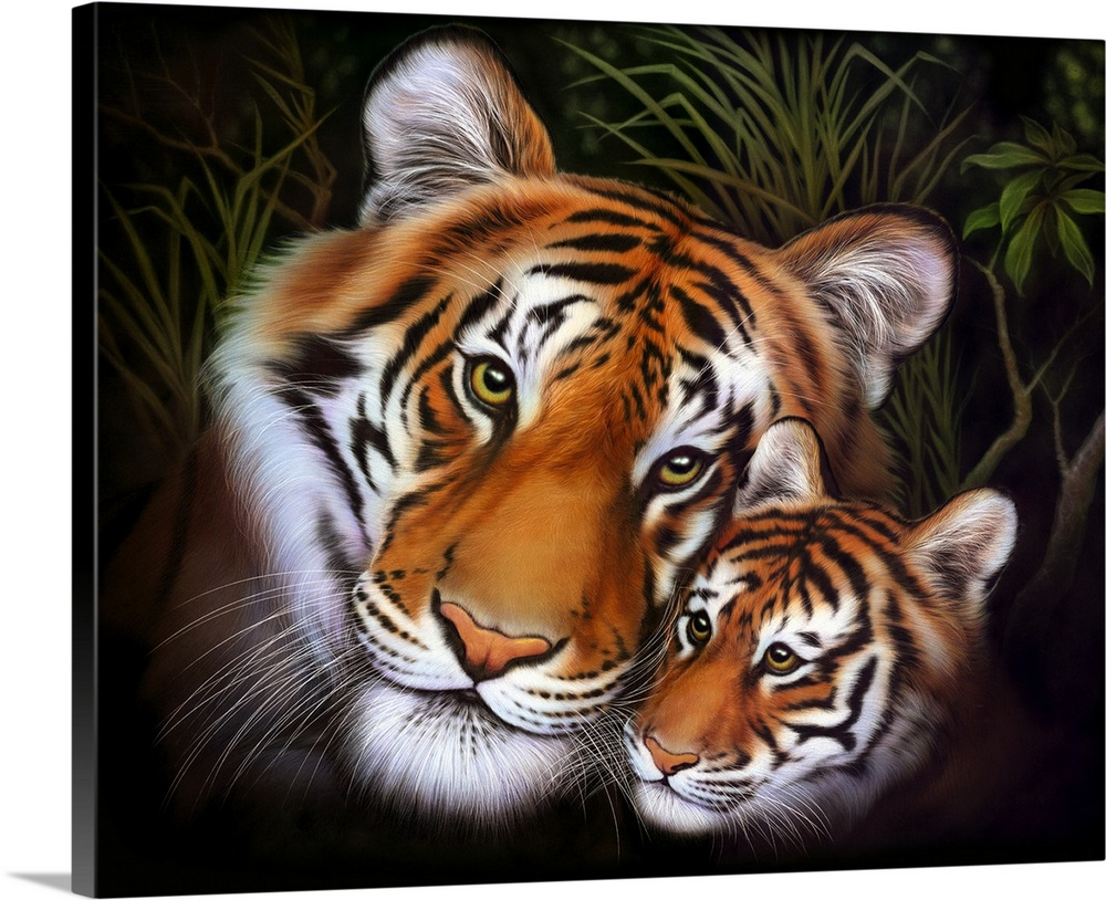 Large Gallery-Wrapped Canvas Wall Art Print 24 x 20 entitled Mother Tiger - Cub I Gallery-Wrapped Canvas entitled Mother Tiger - Cub I.  Multiple sizes available.  Primary colors within this image include Peach Black Gray White.  Made in the USA.  Satisfaction guaranteed.  Archival-quality UV-resistant inks.  Canvas is acid-free and 20 millimeters thick.  Canvas is a 65 polyester 35 cotton base with two acrylic latex primer basecoats and a semi-gloss inkjet receptive topcoat.