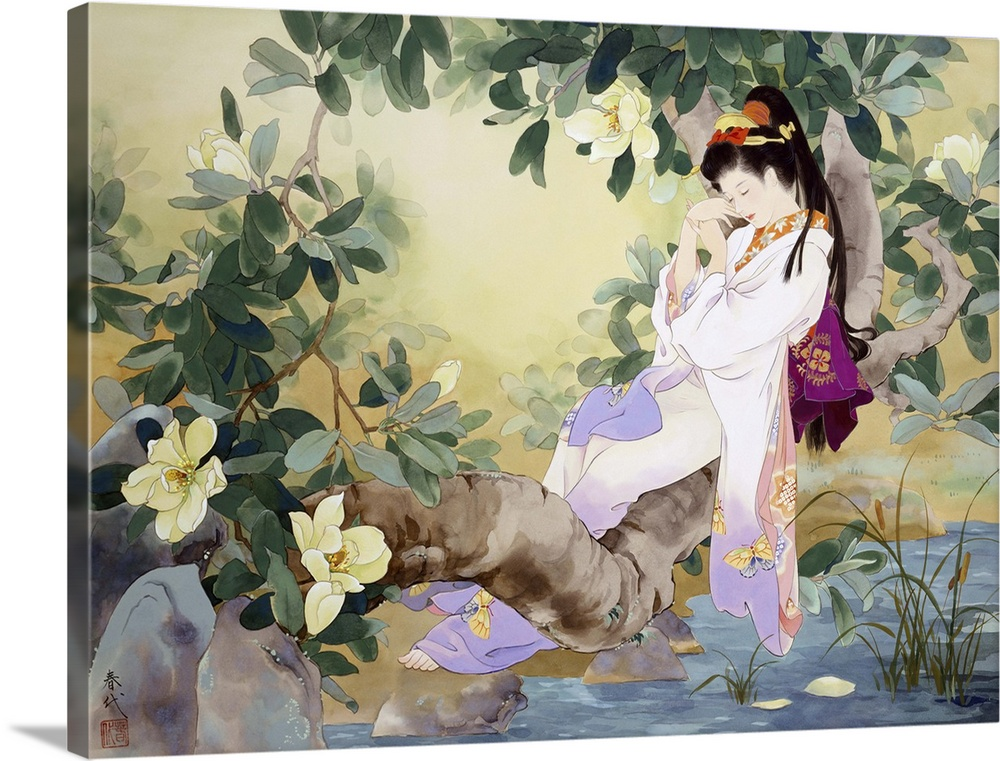 Large Solid-Faced Canvas Print Wall Art Print 40 x 30 entitled Nemuri No Otome Solid-Faced Canvas Print entitled Nemuri No Otome.  Contemporary colorful Asian art of a Geisha in beautiful ornate clothing.  Multiple sizes available.  Primary colors within this image include Peach, Black, White, Dark Forest Green.  Made in USA.  Satisfaction guaranteed.  Archival-quality UV-resistant inks.  Archival inks prevent fading and preserve as much fine detail as possible with no over-saturation or color shifting.  Canvas is handcrafted and made-to-order in the United States using high quality artist-grade canvas.