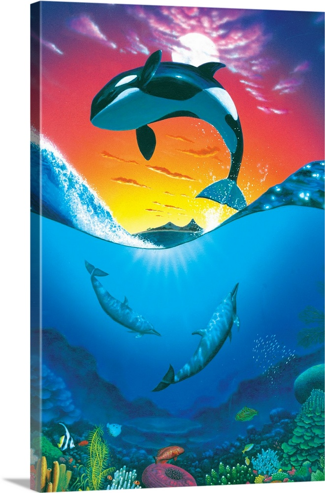 Large Solid-Faced Canvas Print Wall Art Print 24 x 36 entitled Ocean Freedom Solid-Faced Canvas Print entitled Ocean Freedom.  Multiple sizes available.  Primary colors within this image include Yellow, Light Yellow, Royal Blue, Dark Navy Blue.  Made in the USA.  All products come with a 365 day workmanship guarantee.  Archival-quality UV-resistant inks.  Canvas is handcrafted and made-to-order in the United States using high quality artist-grade canvas.  Featuring a proprietary design, our canvases produce the tightest corners without any bubbles, ripples, or bumps and will not warp or sag over time.