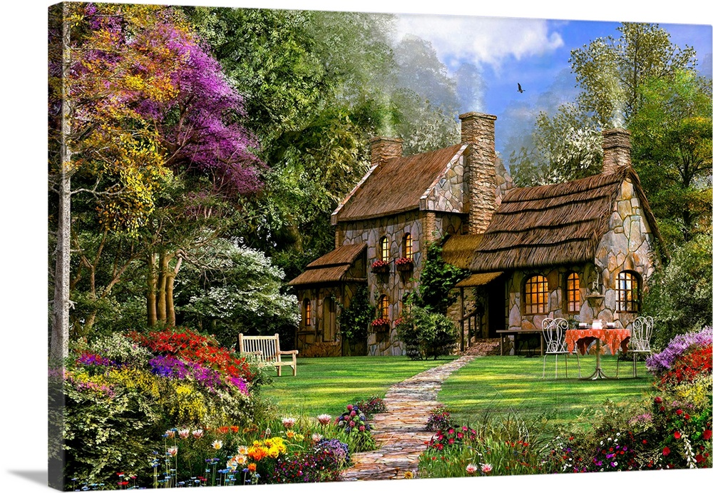 Large Solid-Faced Canvas Print Wall Art Print 30 x 20 entitled Old Flint Cottage Solid-Faced Canvas Print entitled Old Flint Cottage.  Decorative artwork perfect for the home of a country house that is surrounded by tall trees and a garden in front.  Multiple sizes available.  Primary colors within this image include Brown, Black, Pale Blue, Royal Blue.  Made in the USA.  All products come with a 365 day workmanship guarantee.  Archival-quality UV-resistant inks.  Archival inks prevent fading and preserve as much fine detail as possible with no over-saturation or color shifting.  Canvas depth is 1.25 and includes a finished backing with pre-installed hanging hardware.