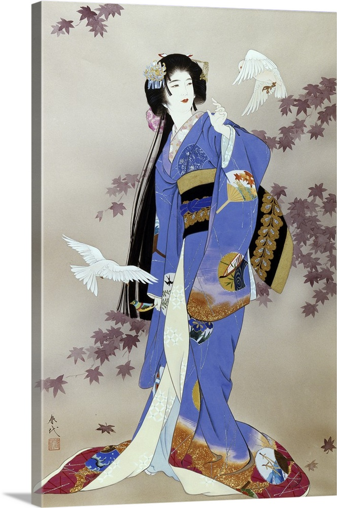 Large Solid-Faced Canvas Print Wall Art Print 20 x 30 entitled Sachi Solid-Faced Canvas Print entitled Sachi.  Contemporary colorful Asian art of a Geisha in beautiful ornate clothing.  Multiple sizes available.  Primary colors within this image include Black, Gray, Silver, Royal Blue.  Made in USA.  Satisfaction guaranteed.  Archival-quality UV-resistant inks.  Featuring a proprietary design, our canvases produce the tightest corners without any bubbles, ripples, or bumps and will not warp or sag over time.  Canvas is handcrafted and made-to-order in the United States using high quality artist-grade canvas.