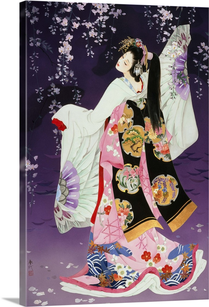 Large Solid-Faced Canvas Print Wall Art Print 20 x 30 entitled Sagi No Mai Solid-Faced Canvas Print entitled Sagi No Mai.  Contemporary colorful Asian art of a Geisha in beautiful ornate clothing.  Multiple sizes available.  Primary colors within this image include Dark Red, Peach, White, Dark Navy Blue.  Made in USA.  Satisfaction guaranteed.  Archival-quality UV-resistant inks.  Archival inks prevent fading and preserve as much fine detail as possible with no over-saturation or color shifting.  Featuring a proprietary design, our canvases produce the tightest corners without any bubbles, ripples, or bumps and will not warp or sag over time.