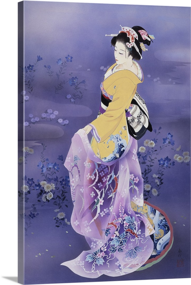 Large Solid-Faced Canvas Print Wall Art Print 20 x 30 entitled Skiyu purple robe Solid-Faced Canvas Print entitled Skiyu purple robe.  Contemporary colorful Asian art of a Geisha in beautiful ornate clothing.  Multiple sizes available.  Primary colors within this image include Peach, Black, Silver, Muted Blue.  Made in the USA.  Satisfaction guaranteed.  Archival-quality UV-resistant inks.  Archival inks prevent fading and preserve as much fine detail as possible with no over-saturation or color shifting.  Canvas is handcrafted and made-to-order in the United States using high quality artist-grade canvas.