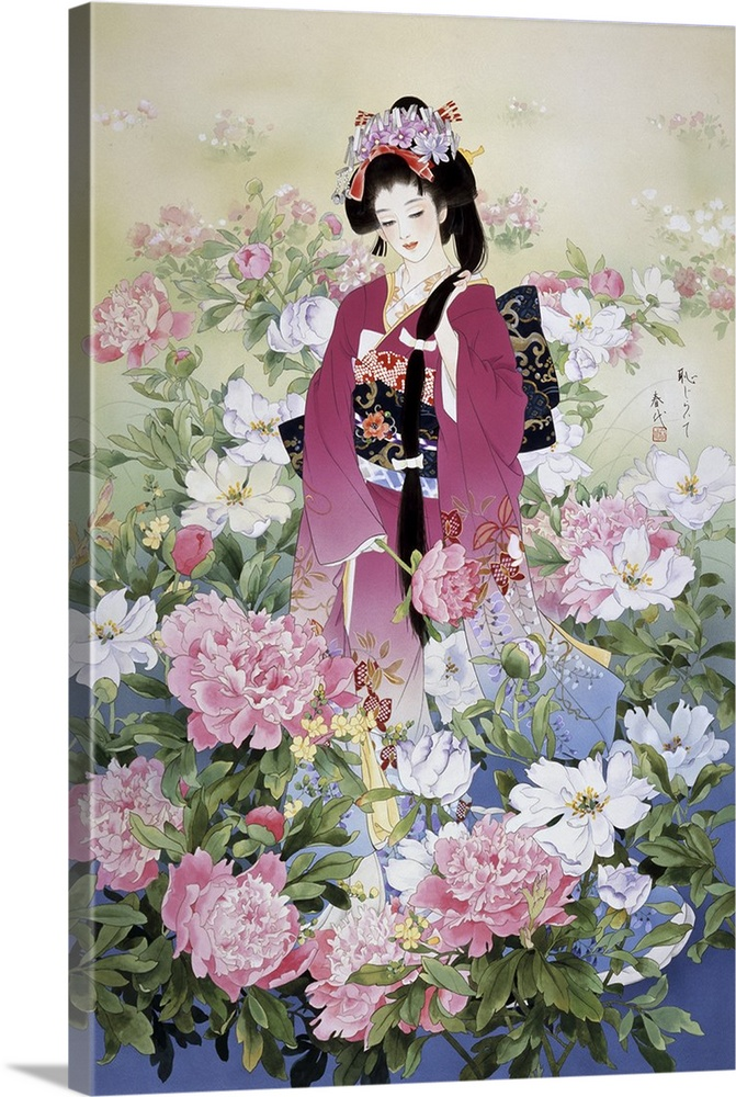 Large Solid-Faced Canvas Print Wall Art Print 20 x 30 entitled Syakuyaku Solid-Faced Canvas Print entitled Syakuyaku.  Contemporary colorful Asian art of a Geisha in beautiful ornate clothing.  Multiple sizes available.  Primary colors within this image include Plum, Black, Silver, Dark Forest Green.  Made in the USA.  Satisfaction guaranteed.  Inks used are latex-based and designed to last.  Featuring a proprietary design, our canvases produce the tightest corners without any bubbles, ripples, or bumps and will not warp or sag over time.  Archival inks prevent fading and preserve as much fine detail as possible with no over-saturation or color shifting.