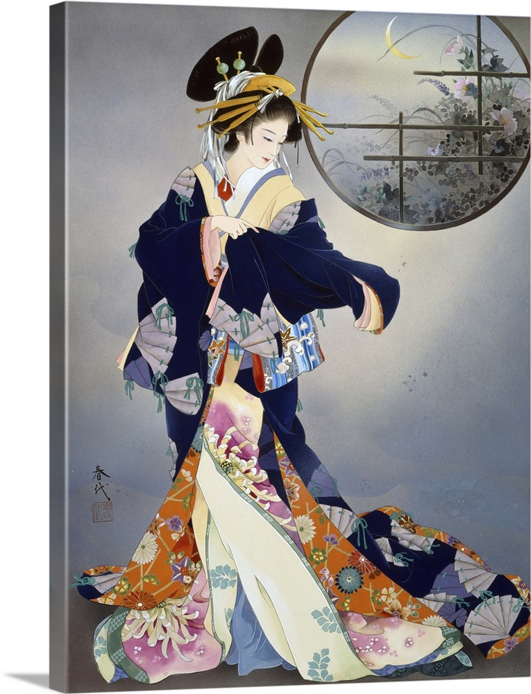 Large Solid-Faced Canvas Print Wall Art Print 30 x 40 entitled Tsukiakari Solid-Faced Canvas Print entitled Tsukiakari.  Contemporary colorful Asian art of a Geisha in beautiful ornate clothing.  Multiple sizes available.  Primary colors within this image include Brown, Silver, Dark Forest Green, Gray Blue.  Made in the USA.  Satisfaction guaranteed.  Archival-quality UV-resistant inks.  Canvas depth is 1.25 and includes a finished backing with pre-installed hanging hardware.  Archival inks prevent fading and preserve as much fine detail as possible with no over-saturation or color shifting.