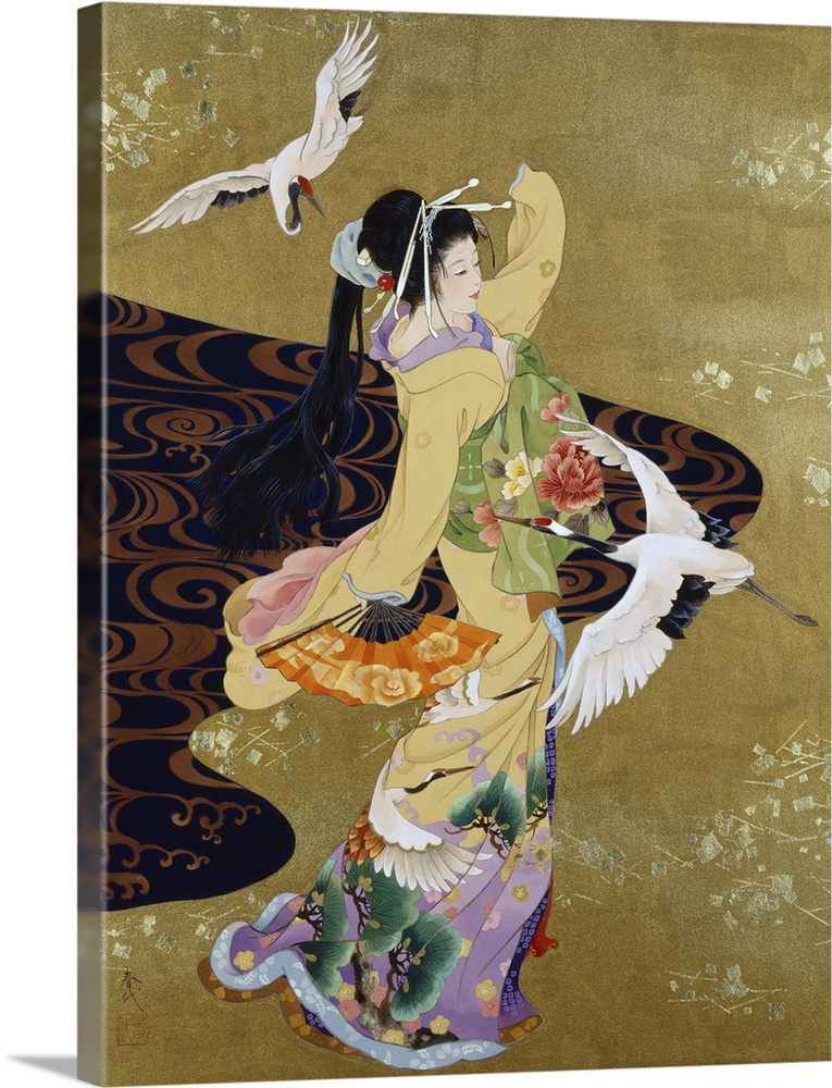 Large Solid-Faced Canvas Print Wall Art Print 30 x 40 entitled Tsuru No Mai Solid-Faced Canvas Print entitled Tsuru No Mai.  Contemporary colorful Asian art of a Geisha in beautiful ornate clothing.  Multiple sizes available.  Primary colors within this image include Peach, Black, Gray, Silver.  Made in the USA.  All products come with a 365 day workmanship guarantee.  Archival-quality UV-resistant inks.  Canvas depth is 1.25 and includes a finished backing with pre-installed hanging hardware.  Archival inks prevent fading and preserve as much fine detail as possible with no over-saturation or color shifting.