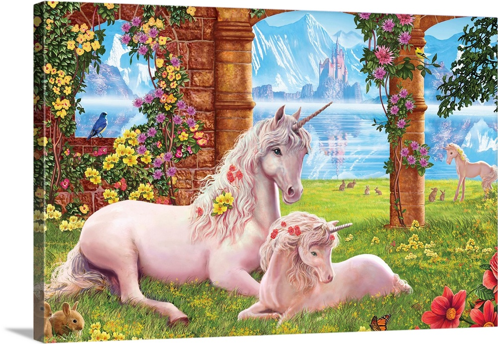 Large Gallery-Wrapped Canvas Wall Art Print 24 x 16 entitled Unicorn Mother and Foal Gallery-Wrapped Canvas entitled Unicorn Mother and Foal.  Unicorn mother and foal lying down in an old fantasy garden with a lake and mountains.  Multiple sizes available.  Primary colors within this image include Pink Peach Black Pale Blue.  Made in the USA.  All products come with a 365 day workmanship guarantee.  Archival-quality UV-resistant inks.  Canvas is designed to prevent fading.  Canvas is a 65 polyester 35 cotton base with two acrylic latex primer basecoats and a semi-gloss inkjet receptive topcoat.