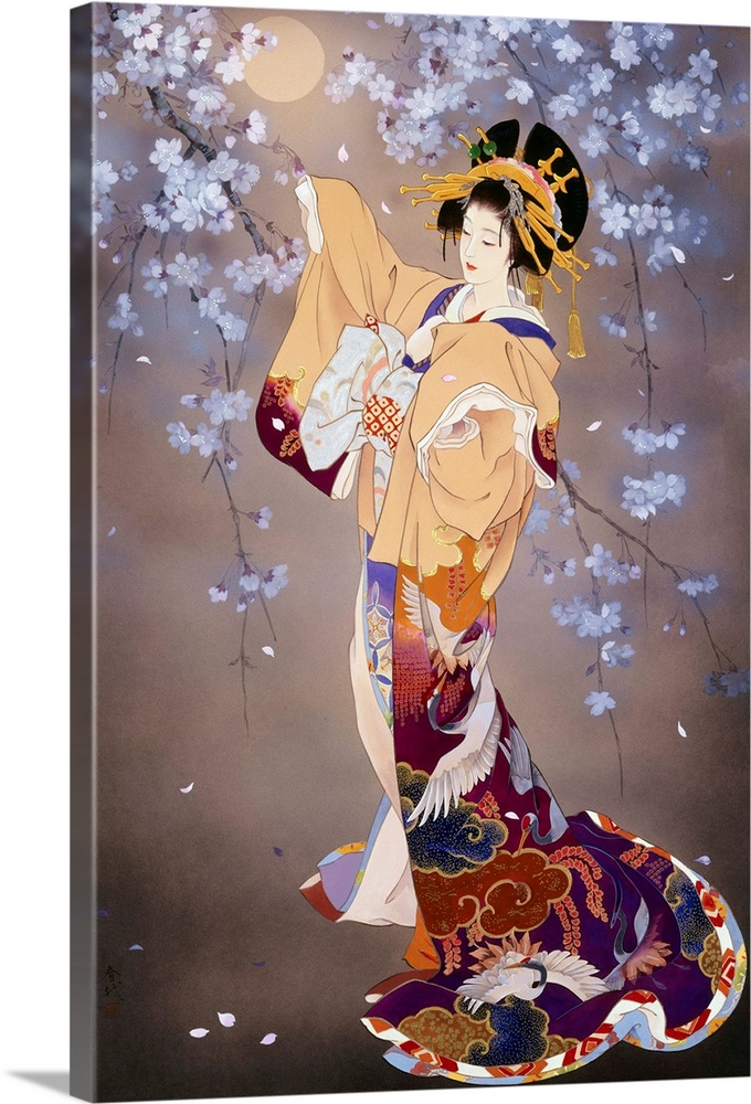 Large Solid-Faced Canvas Print Wall Art Print 20 x 30 entitled Yoi Solid-Faced Canvas Print entitled Yoi.  Contemporary colorful Asian art of a Geisha in beautiful ornate clothing.  Multiple sizes available.  Primary colors within this image include Dark Red, Plum, Peach, Black.  Made in USA.  All products come with a 365 day workmanship guarantee.  Archival-quality UV-resistant inks.  Featuring a proprietary design, our canvases produce the tightest corners without any bubbles, ripples, or bumps and will not warp or sag over time.  Canvas is handcrafted and made-to-order in the United States using high quality artist-grade canvas.
