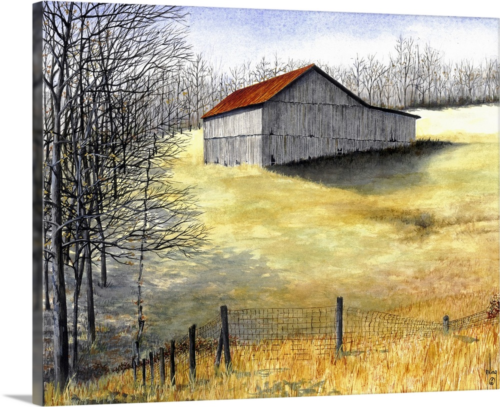 Large Solid-Faced Canvas Print Wall Art Print 30 x 24 entitled Barn Shadows Solid-Faced Canvas Print entitled Barn Shadows.  barn, field, farm, farming, country.  Multiple sizes available.  Primary colors within this image include Brown, Peach, Black, Pale Blue.  Made in the USA.  Satisfaction guaranteed.  Inks used are latex-based and designed to last.  Archival inks prevent fading and preserve as much fine detail as possible with no over-saturation or color shifting.  Canvas depth is 1.25 and includes a finished backing with pre-installed hanging hardware.