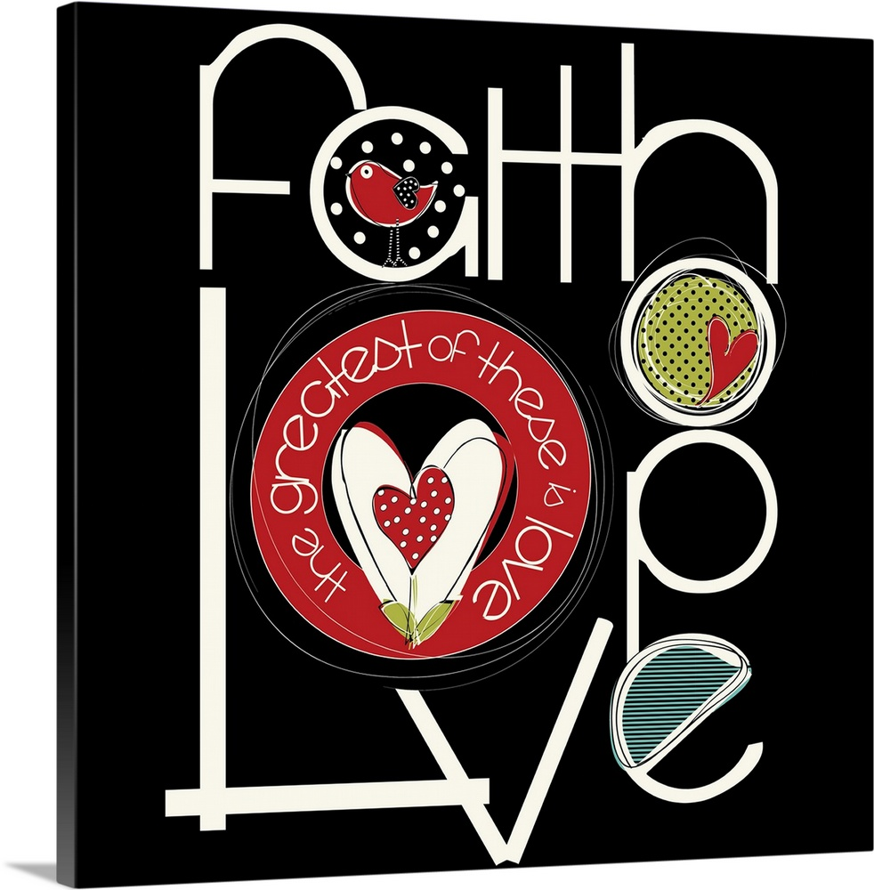 Large Solid-Faced Canvas Print Wall Art Print 20 x 20 entitled Faith, Hope, Love Solid-Faced Canvas Print entitled Faith, Hope, Love.  Multiple sizes available.  Primary colors within this image include Dark Red, Light Yellow, Black, White.  Made in USA.  All products come with a 365 day workmanship guarantee.  Inks used are latex-based and designed to last.  Canvas depth is 1.25 and includes a finished backing with pre-installed hanging hardware.  Archival inks prevent fading and preserve as much fine detail as possible with no over-saturation or color shifting.