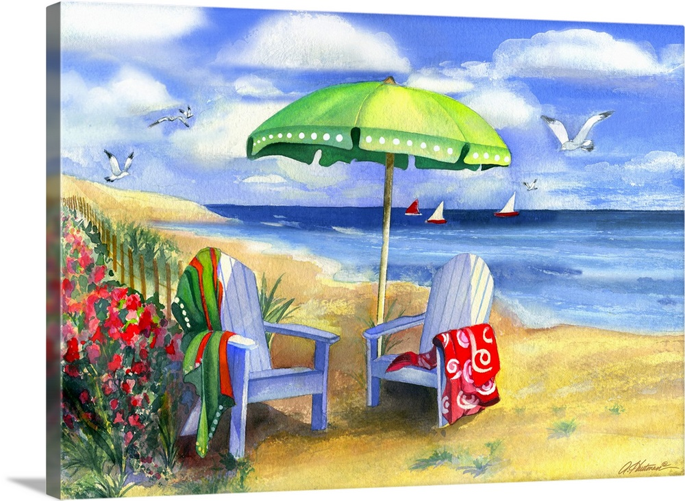 Large Gallery-Wrapped Canvas Wall Art Print 24 x 17 entitled Green Umbrella Gallery-Wrapped Canvas entitled Green Umbrella.  Decorative artwork of two beach chairs sitting on the sand with towels draped over them and an umbrella in between them. Seagulls are shown flying above the water that has 3 sailboats in the distance.  Multiple sizes available.  Primary colors within this image include Dark Red, Light Yellow, Sky Blue, Lilac.  Made in USA.  All products come with a 365 day workmanship guarantee.  Inks used are latex-based and designed to last.  Canvases are stretched across a 1.5 inch thick wooden frame with easy-to-mount hanging hardware.  Canvases have a UVB protection built in to protect against fading and moisture and are designed to last for over 100 years.