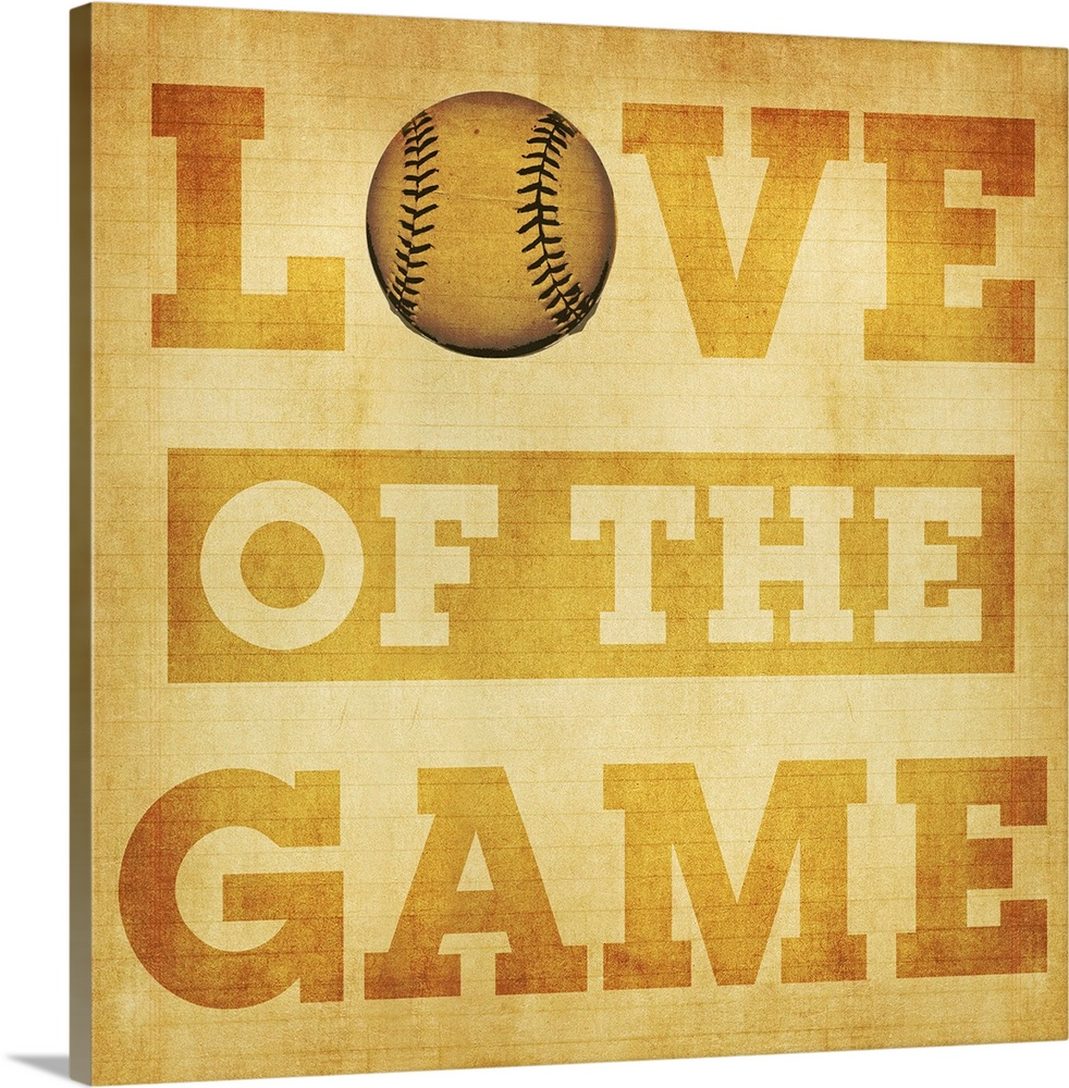 Large Solid-Faced Canvas Print Wall Art Print 20 x 20 entitled Love of the Game Typography Art - tan Solid-Faced Canvas Print entitled Love of the Game Typography Art - tan.  Multiple sizes available.  Primary colors within this image include Brown, Peach, Dark Forest Green.  Made in the USA.  All products come with a 365 day workmanship guarantee.  Inks used are latex-based and designed to last.  Featuring a proprietary design, our canvases produce the tightest corners without any bubbles, ripples, or bumps and will not warp or sag over time.  Archival inks prevent fading and preserve as much fine detail as possible with no over-saturation or color shifting.
