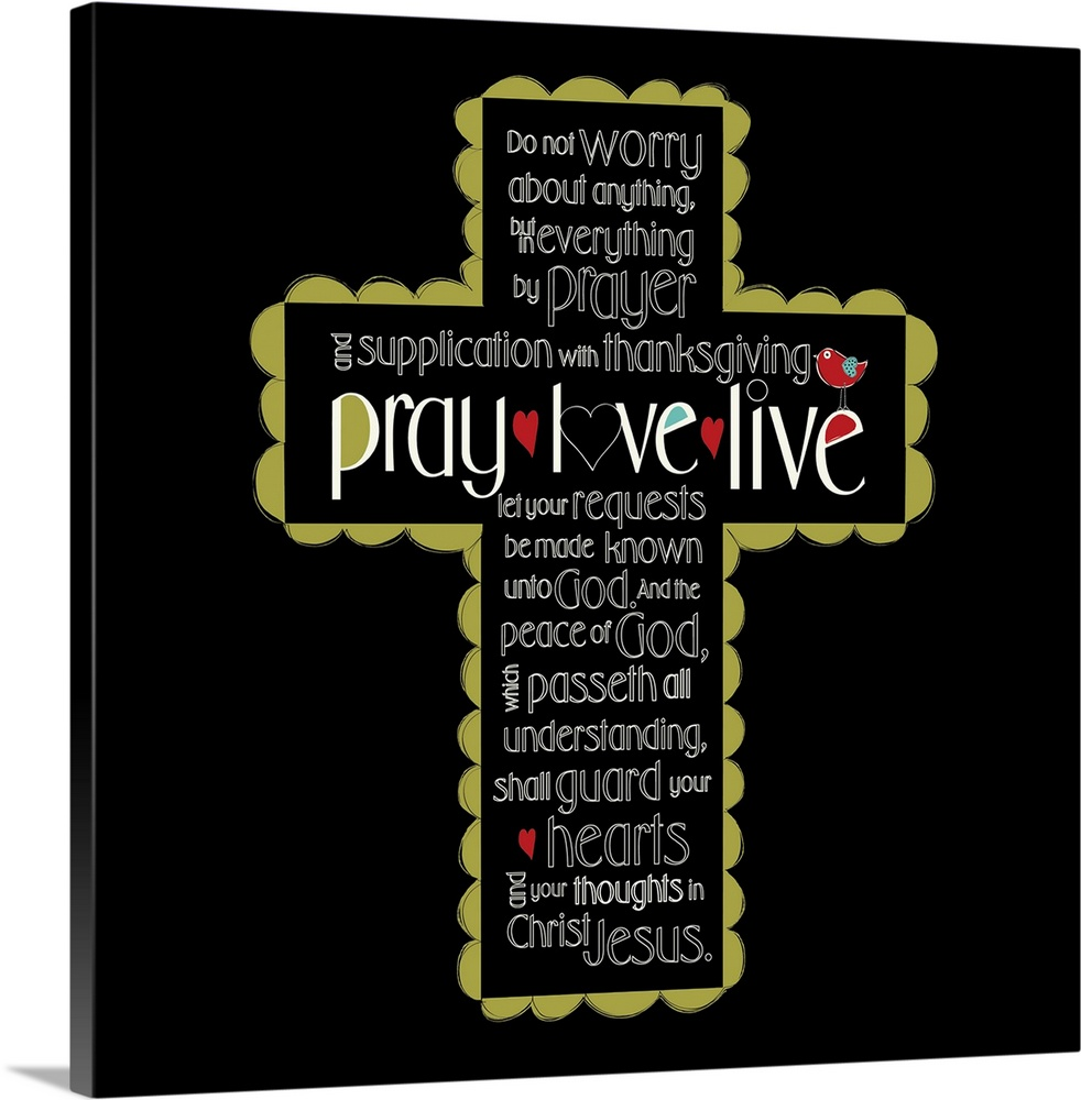Large Solid-Faced Canvas Print Wall Art Print 20 x 20 entitled Pray, Love Live Cross Solid-Faced Canvas Print entitled Pray, Love Live Cross.  Multiple sizes available.  Primary colors within this image include Dark Red, Dark Yellow, White, Dark Forest Green.  Made in the USA.  Satisfaction guaranteed.  Archival-quality UV-resistant inks.  Featuring a proprietary design, our canvases produce the tightest corners without any bubbles, ripples, or bumps and will not warp or sag over time.  Canvas depth is 1.25 and includes a finished backing with pre-installed hanging hardware.