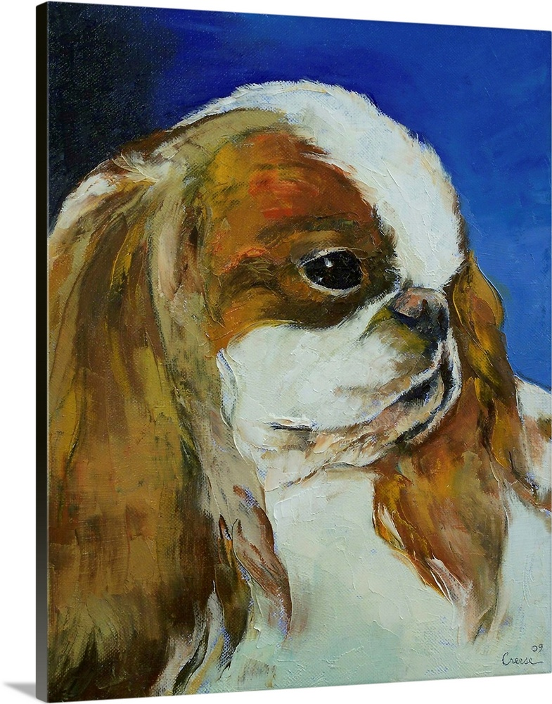 Large Solid-Faced Canvas Print Wall Art Print 24 x 30 entitled English Toy Spaniel Solid-Faced Canvas Print entitled English Toy Spaniel.  Original oil on canvas painting by American artist Michael Creese.  Multiple sizes available.  Primary colors within this image include Brown, Dark Blue, Silver.  Made in the USA.  Satisfaction guaranteed.  Archival-quality UV-resistant inks.  Canvas is handcrafted and made-to-order in the United States using high quality artist-grade canvas.  Archival inks prevent fading and preserve as much fine detail as possible with no over-saturation or color shifting.