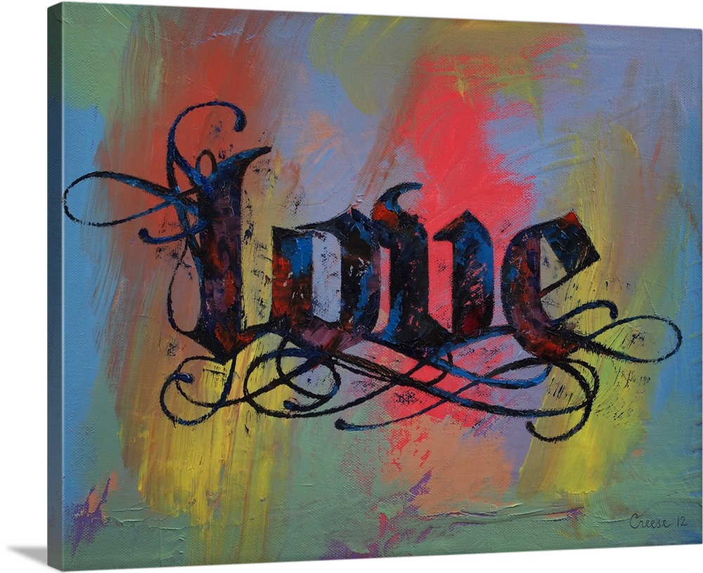Large Solid-Faced Canvas Print Wall Art Print 30 x 24 entitled Love - Calligraphy Solid-Faced Canvas Print entitled Love - Calligraphy.  Multiple sizes available.  Primary colors within this image include Pink, Black, Gray, Muted Blue.  Made in USA.  All products come with a 365 day workmanship guarantee.  Inks used are latex-based and designed to last.  Canvas is handcrafted and made-to-order in the United States using high quality artist-grade canvas.  Featuring a proprietary design, our canvases produce the tightest corners without any bubbles, ripples, or bumps and will not warp or sag over time.