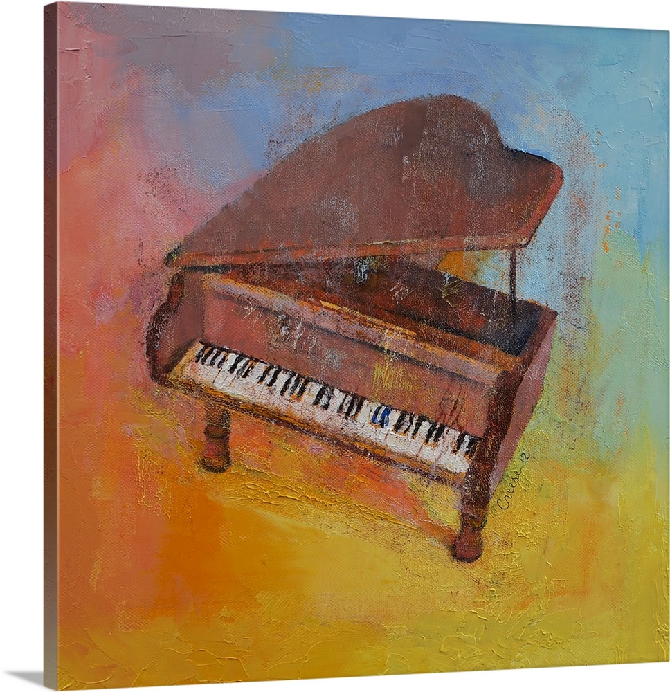 Large Solid-Faced Canvas Print Wall Art Print 20 x 20 entitled Toy Piano Solid-Faced Canvas Print entitled Toy Piano.  Multiple sizes available.  Primary colors within this image include Orange, Brown, Pink, Gray Blue.  Made in USA.  Satisfaction guaranteed.  Archival-quality UV-resistant inks.  Archival inks prevent fading and preserve as much fine detail as possible with no over-saturation or color shifting.  Featuring a proprietary design, our canvases produce the tightest corners without any bubbles, ripples, or bumps and will not warp or sag over time.