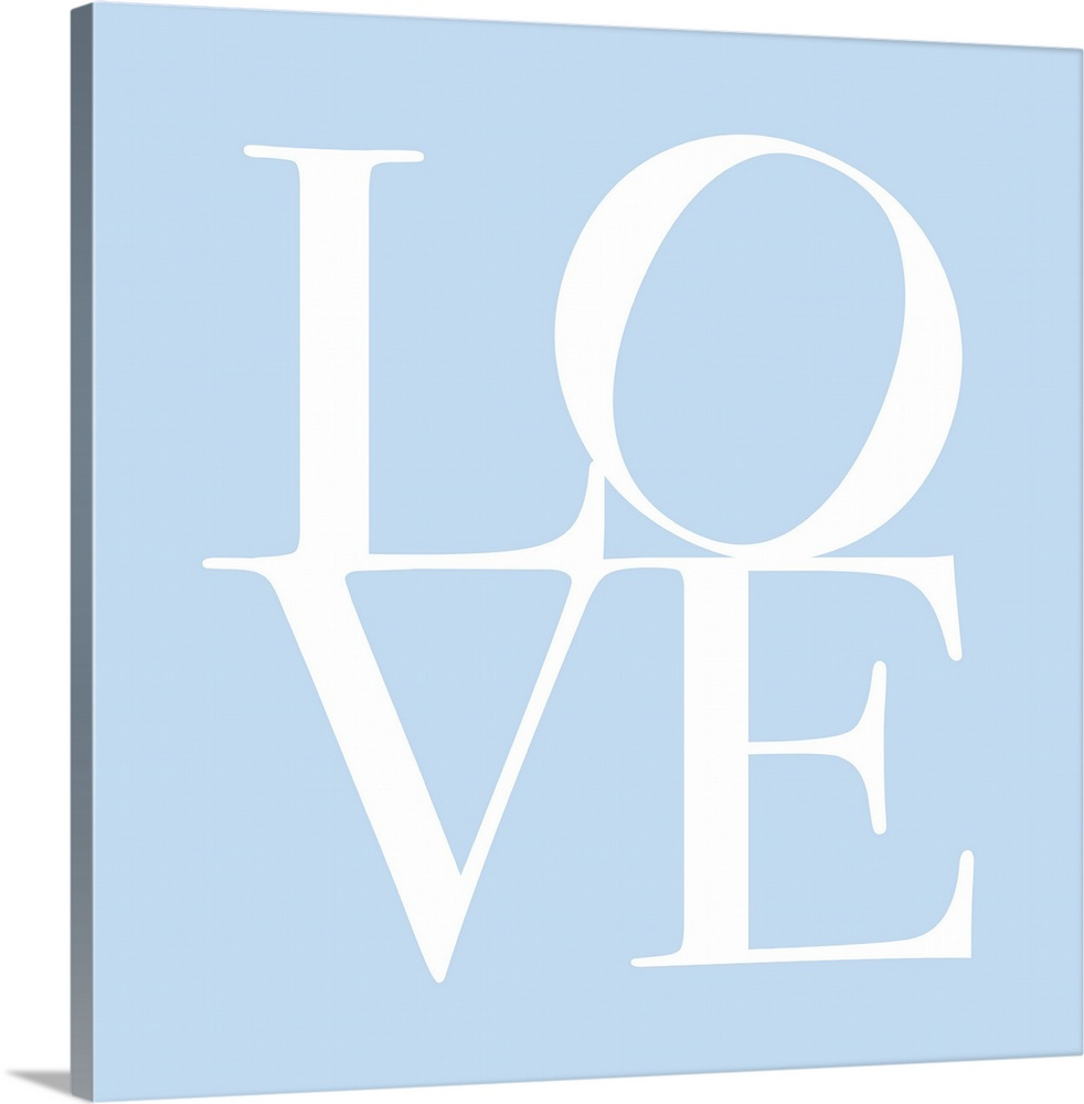 Large Solid-Faced Canvas Print Wall Art Print 20 x 20 entitled Love in Baby Blue Solid-Faced Canvas Print entitled Love in Baby Blue.  LOVE, typography text art print and canvas print, with the word LOVE written against a baby blue background. Chic, contemporary, modern and stylish.  Multiple sizes available.  Primary colors within this image include Black, White.  Made in USA.  Satisfaction guaranteed.  Archival-quality UV-resistant inks.  Archival inks prevent fading and preserve as much fine detail as possible with no over-saturation or color shifting.  Canvas depth is 1.25 and includes a finished backing with pre-installed hanging hardware.