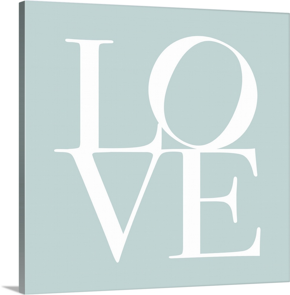 Large Solid-Faced Canvas Print Wall Art Print 20 x 20 entitled Love in Duck Egg Blue Solid-Faced Canvas Print entitled Love in Duck Egg Blue.  LOVE, typography text art print and canvas print, with the word LOVE written against a duck egg blue background. Chic, contemporary, modern and stylish.  Multiple sizes available.  Primary colors within this image include Black, Silver.  Made in USA.  All products come with a 365 day workmanship guarantee.  Archival-quality UV-resistant inks.  Canvas depth is 1.25 and includes a finished backing with pre-installed hanging hardware.  Archival inks prevent fading and preserve as much fine detail as possible with no over-saturation or color shifting.