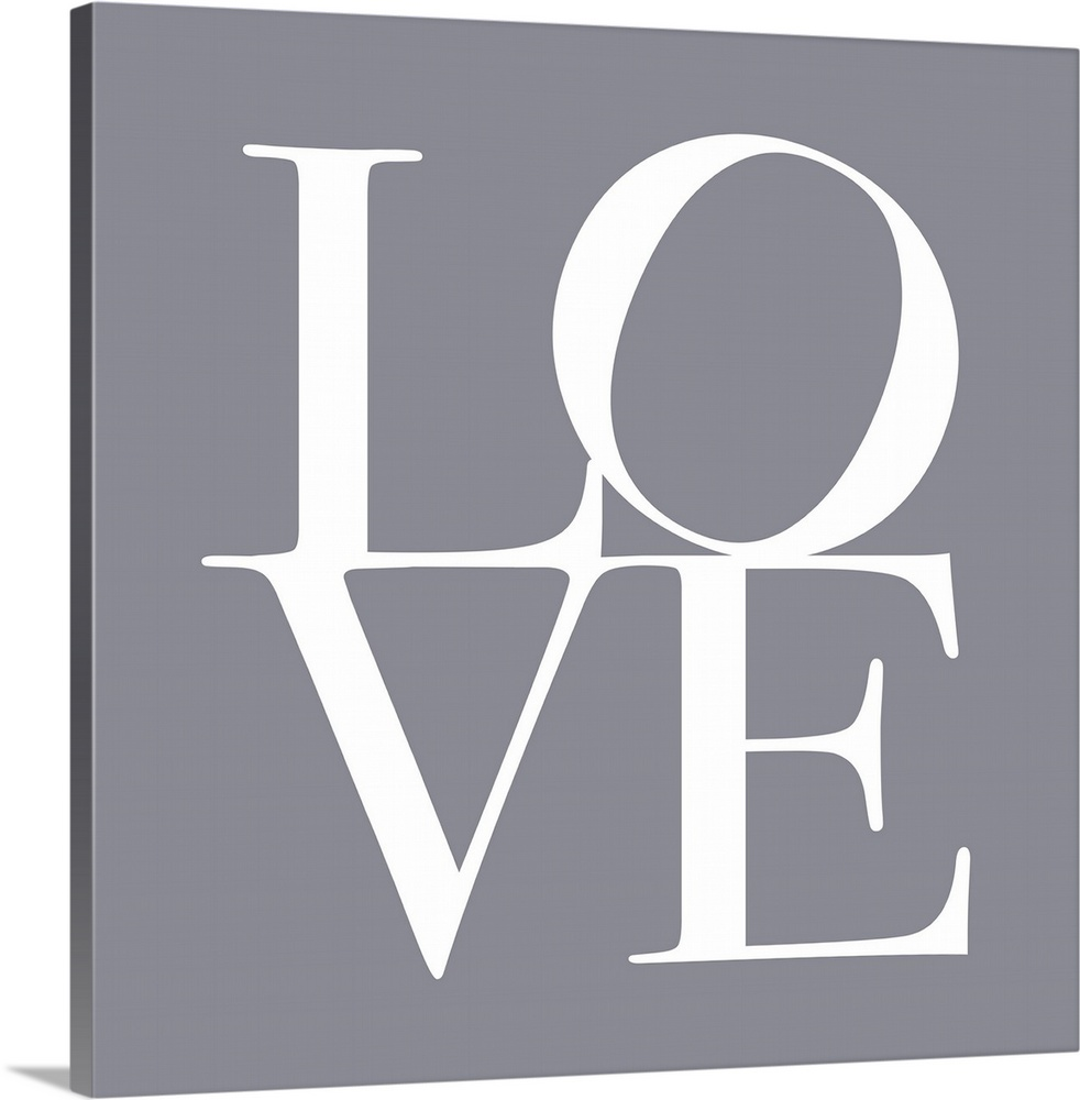 Large Solid-Faced Canvas Print Wall Art Print 20 x 20 entitled Love in Grey Solid-Faced Canvas Print entitled Love in Grey.  LOVE, typography text art print and canvas print, with the word LOVE written against a gey background. Chic, contemporary, modern and stylish.  Multiple sizes available.  Primary colors within this image include Black, Light Gray.  Made in the USA.  All products come with a 365 day workmanship guarantee.  Inks used are latex-based and designed to last.  Canvas is handcrafted and made-to-order in the United States using high quality artist-grade canvas.  Canvas depth is 1.25 and includes a finished backing with pre-installed hanging hardware.