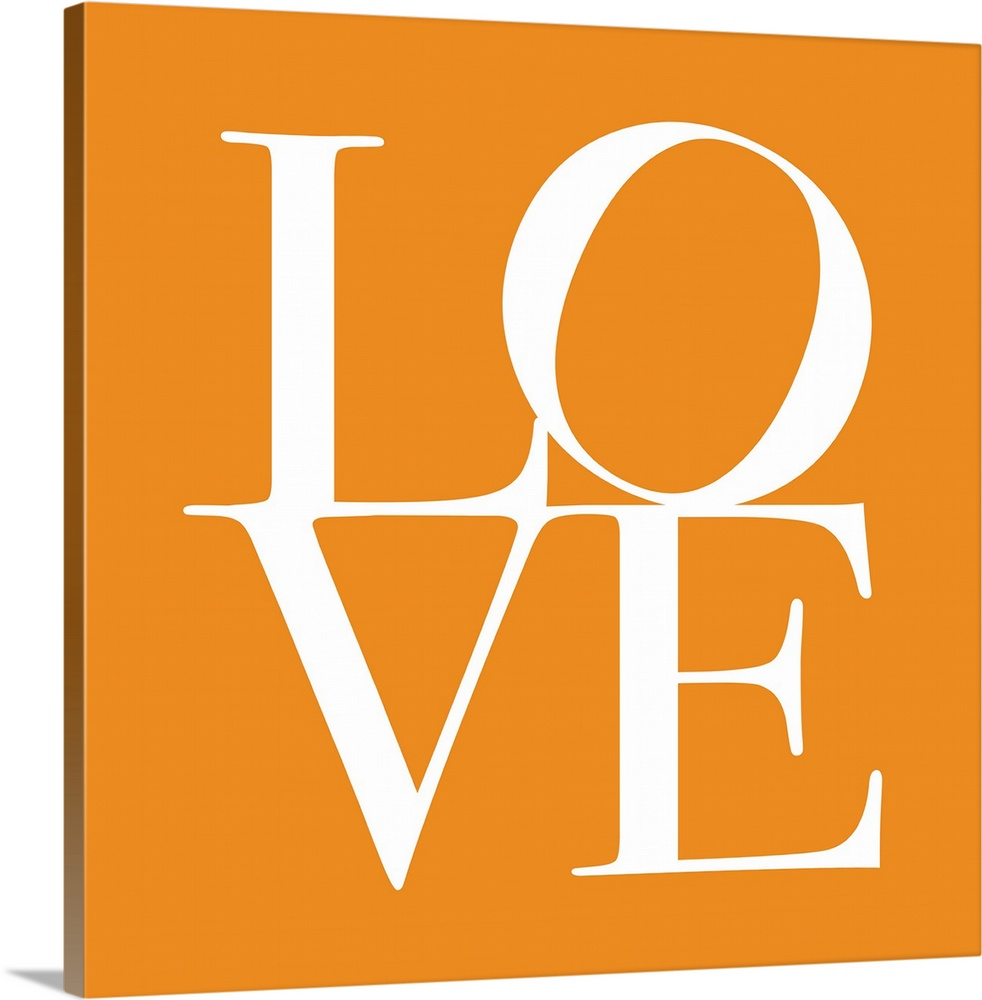 Large Solid-Faced Canvas Print Wall Art Print 20 x 20 entitled Love in Orange Solid-Faced Canvas Print entitled Love in Orange.  Big contemporary art shows a single word for the intense feeling of deep affection a couple shares that has been split into a couple lines of two letters each.  Artist slightly rotates the letter O on the first line and places the text against a solid color background.  Multiple sizes available.  Primary colors within this image include Orange, Black, White.  Made in the USA.  Satisfaction guaranteed.  Inks used are latex-based and designed to last.  Featuring a proprietary design, our canvases produce the tightest corners without any bubbles, ripples, or bumps and will not warp or sag over time.  Archival inks prevent fading and preserve as much fine detail as possible with no over-saturation or color shifting.