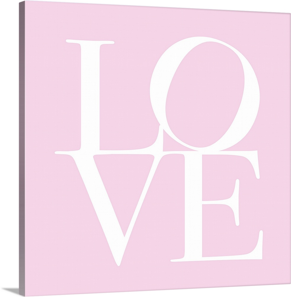 Large Solid-Faced Canvas Print Wall Art Print 20 x 20 entitled Love in Pink Solid-Faced Canvas Print entitled Love in Pink.  Oversized, square, contemporary art  of the word LOVE written against a pink background. The word is split in half, with LO on the top and VE on the bottom.  Multiple sizes available.  Primary colors within this image include Black, Silver.  Made in the USA.  All products come with a 365 day workmanship guarantee.  Inks used are latex-based and designed to last.  Archival inks prevent fading and preserve as much fine detail as possible with no over-saturation or color shifting.  Canvas is handcrafted and made-to-order in the United States using high quality artist-grade canvas.