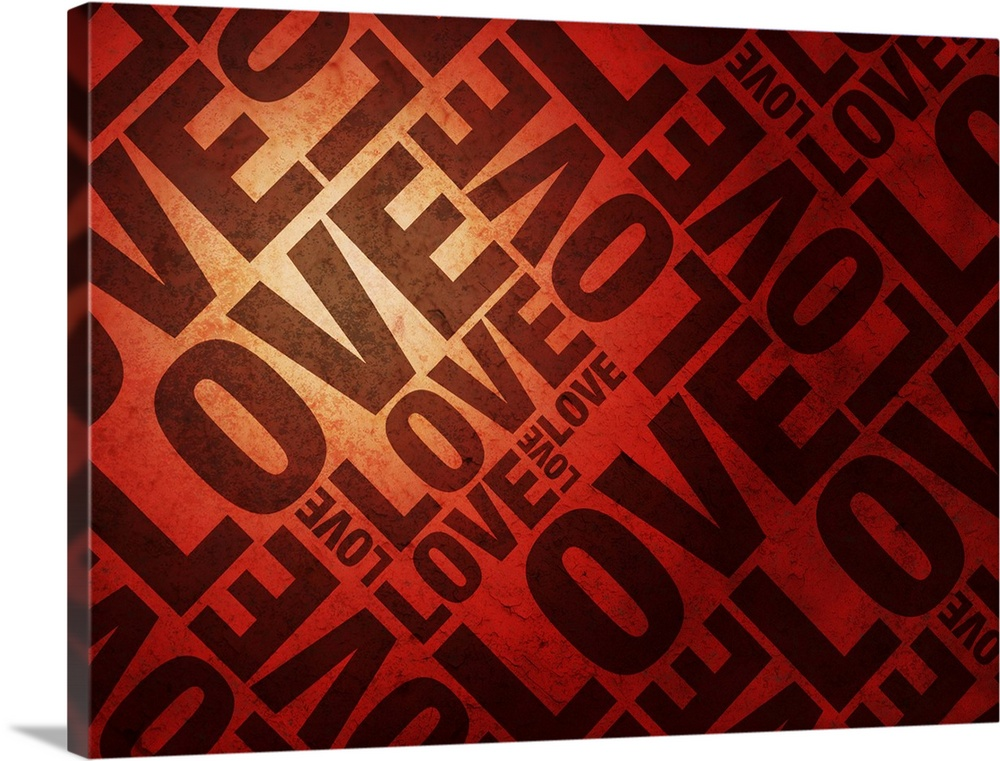 Large Solid-Faced Canvas Print Wall Art Print 40 x 30 entitled Love Letters Solid-Faced Canvas Print entitled Love Letters.  Love Letters on Red, text art print.  Multiple sizes available.  Primary colors within this image include Dark Red, Peach, Black.  Made in the USA.  Satisfaction guaranteed.  Inks used are latex-based and designed to last.  Canvas is handcrafted and made-to-order in the United States using high quality artist-grade canvas.  Archival inks prevent fading and preserve as much fine detail as possible with no over-saturation or color shifting.