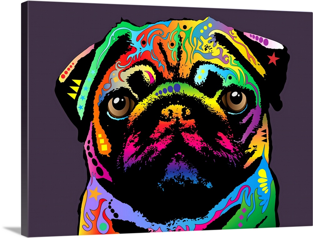Large Solid-Faced Canvas Print Wall Art Print 40 x 30 entitled Pug Dog Solid-Faced Canvas Print entitled Pug Dog.  Pug Art Print Canvas. The pug is a toy breed of dog with a wrinkly, short-muzzled face, and curled tail. The pug breed has a fine, glossy coat that comes in a variety of colors, and a compact square body with well-developed muscle. Pugs were originally bred to adorn the laps of the Chinese sovereigns during the Shang dynasty before 400 BCE in East China. The pug was imported to Europe in the 16th century by the Dutch East India Company. The pug is said to have become the official dog of the House of Orange in 1572 after a pug named Pompey saved the life of the Prince of Orange by alerting him to the approach of assassins.  Multiple sizes available.  Primary colors within this image include Red, Yellow, Fuschia, Black.  Made in the USA.  All products come with a 365 day workmanship guarantee.  Inks used are latex-based and designed to last.  Canvas is handcrafted and made-to-order in the United States using high quality artist-grade canvas.  Featuring a proprietary design, our canvases produce the tightest corners without any bubbles, ripples, or bumps and will not warp or sag over time.