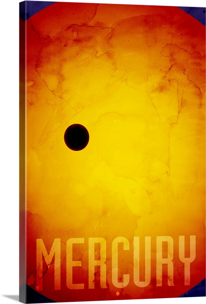 Large Gallery-Wrapped Canvas Wall Art Print 16 x 24 entitled The Planet Mercury Gallery-Wrapped Canvas entitled The Planet Mercury.  The Planet Mercury number 1 in a set of 9 prints featuring the planets of our Solar System. Mercury is the first planet from the sun and smallest planet in the Milky Way Solar System. Mercury orbits the Sun once every 87.969 Earth days. Surface temperatures range from about 90 to 700 K 183 C to 427 C. The English name for the planet comes from the Romans who named it after the Roman god Mercury. The earliest known recorded observations of Mercury are from the Mul.Apin tablets. These observations were most likely made by an Assyrian astronomer around the 14th century BC.  Multiple sizes available.  Primary colors within this image include Orange Yellow Dark Blue Black.  Made in the USA.  All products come with a 365 day workmanship guarantee.  Archival-quality UV-resistant inks.  Museum-quality artist-grade canvas mounted on sturdy wooden stretcher bars 1.5 thick.  Comes ready to hang.  Canvases are stretched across a 1.5 inch thick wooden frame with easy-to-mount hanging hardware.