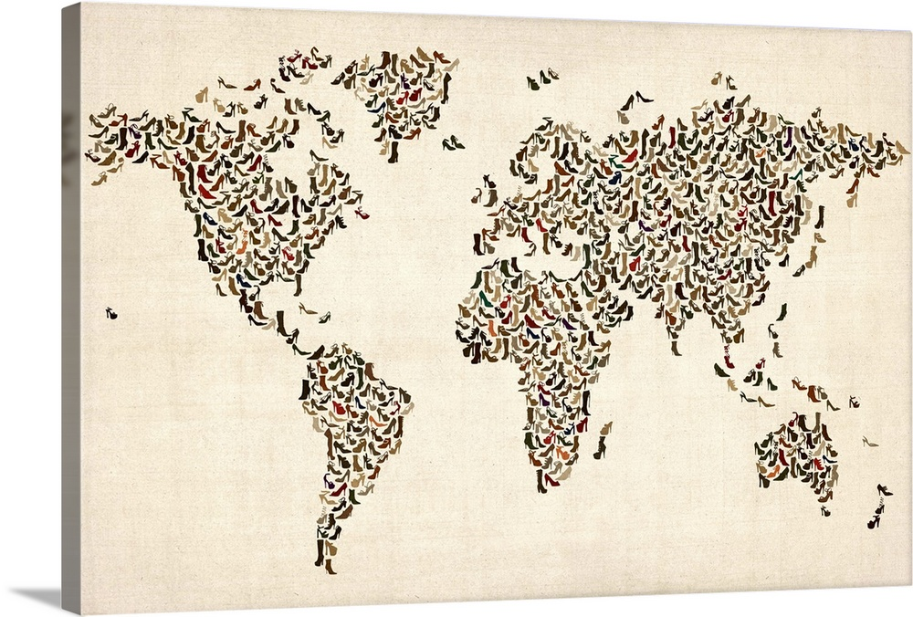 Large Solid-Faced Canvas Print Wall Art Print 30 x 20 entitled World map made up of shoes Solid-Faced Canvas Print entitled World map made up of shoes.  Multiple sizes available.  Primary colors within this image include Black, Gray, White.  Made in the USA.  Satisfaction guaranteed.  Inks used are latex-based and designed to last.  Canvas depth is 1.25 and includes a finished backing with pre-installed hanging hardware.  Canvas is handcrafted and made-to-order in the United States using high quality artist-grade canvas.