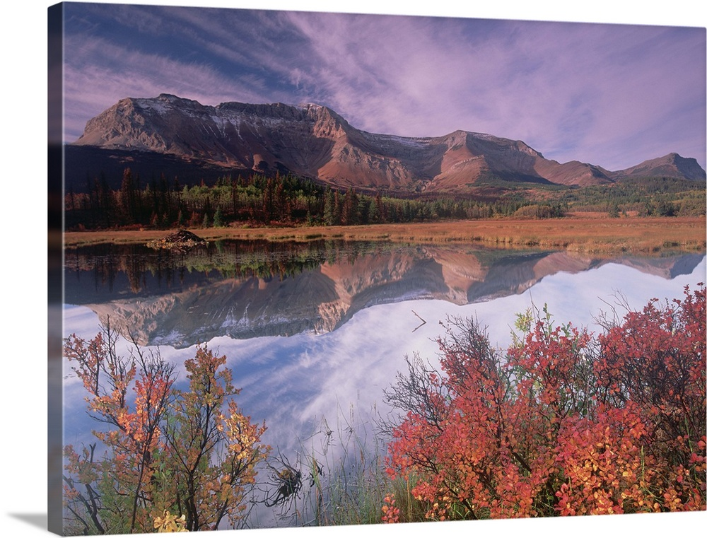 Large Solid-Faced Canvas Print Wall Art Print 40 x 30 entitled Sofa Mountain, Waterton Lakes National Park, Alberta, Canada Solid-Faced Canvas Print entitled Sofa Mountain, Waterton Lakes National Park, Alberta, Canada.  Multiple sizes available.  Primary colors within this image include Brown, Sky Blue, Dark Navy Blue.  Made in the USA.  All products come with a 365 day workmanship guarantee.  Inks used are latex-based and designed to last.  Canvas depth is 1.25 and includes a finished backing with pre-installed hanging hardware.  Archival inks prevent fading and preserve as much fine detail as possible with no over-saturation or color shifting.