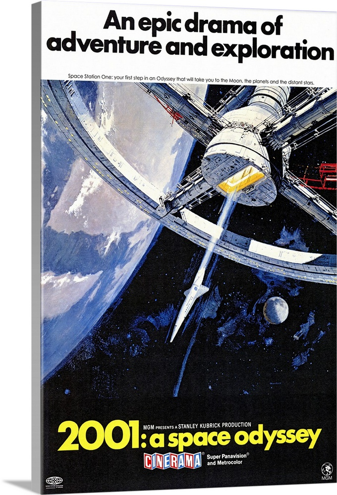 Large Solid-Faced Canvas Print Wall Art Print 20 x 30 entitled 2001: A Space Odyssey (1968) Solid-Faced Canvas Print entitled 2001 A Space Odyssey 1968.  Space voyage to Jupiter turns chaotic when a computer, HAL 9000, takes over. Seen by some as a mirror of mans historical use of machinery and by others as a grim vision of the future, the special effects and music are still stunning. Critically acclaimed and well accepted by some, simply confusing to others. Martin Balsam originally recorded the voice of HAL, but was replaced by Rain. From Arthur C. Clarkes short story The Sentinel. Followed by a sequel 2010 The Year We Make Contact.  Multiple sizes available.  Primary colors within this image include Red, Yellow, White, Dark Navy Blue.  Made in USA.  Satisfaction guaranteed.  Inks used are latex-based and designed to last.  Canvas depth is 1.25 and includes a finished backing with pre-installed hanging hardware.  Canvas is handcrafted and made-to-order in the United States using high quality artist-grade canvas.